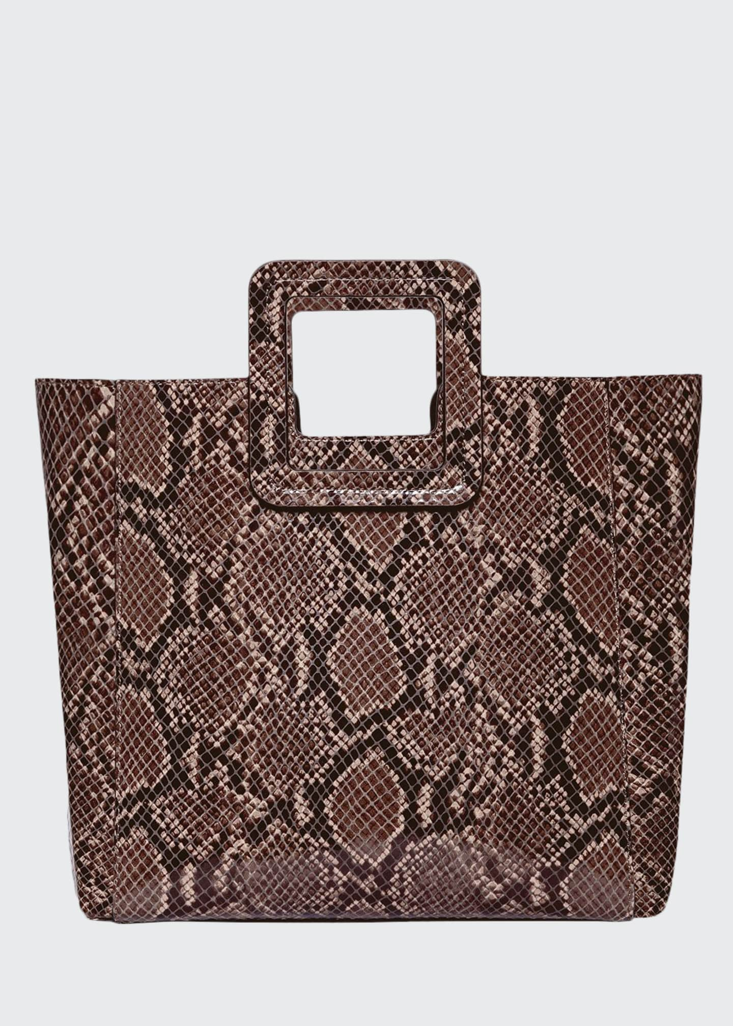 Image 1 of 5: Shirley Snake-Embossed Tote Bag