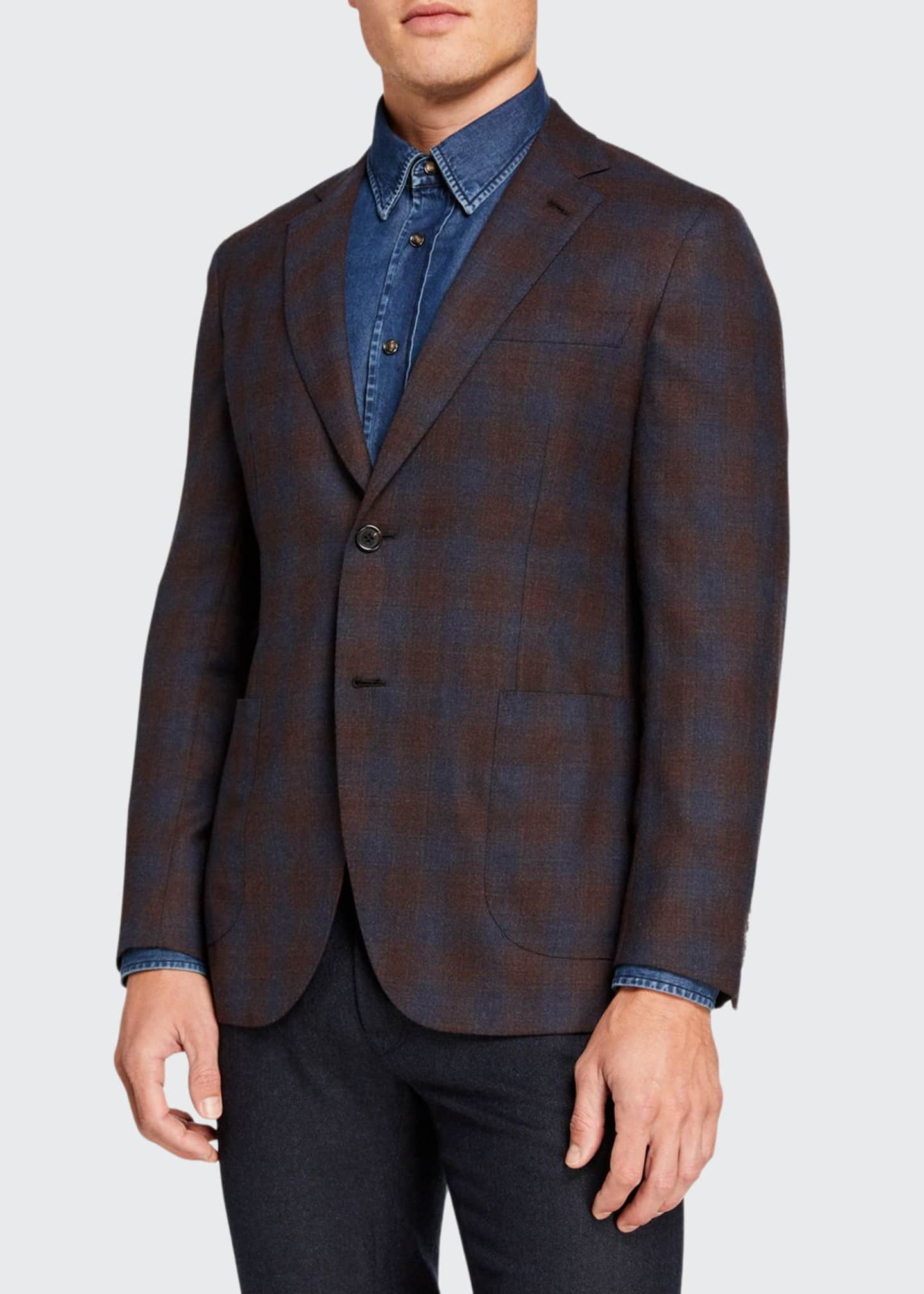 Brioni Men's Ombre-Check Two-Button Jacket