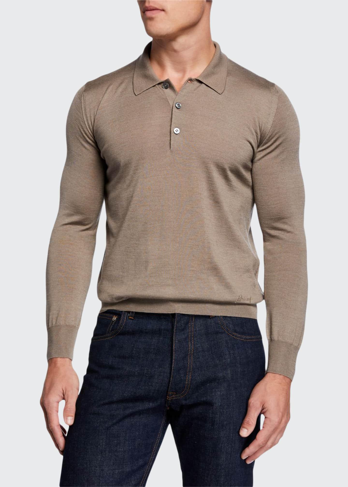 Brioni Men's Long-Sleeve Wool-Silk Polo Shirt
