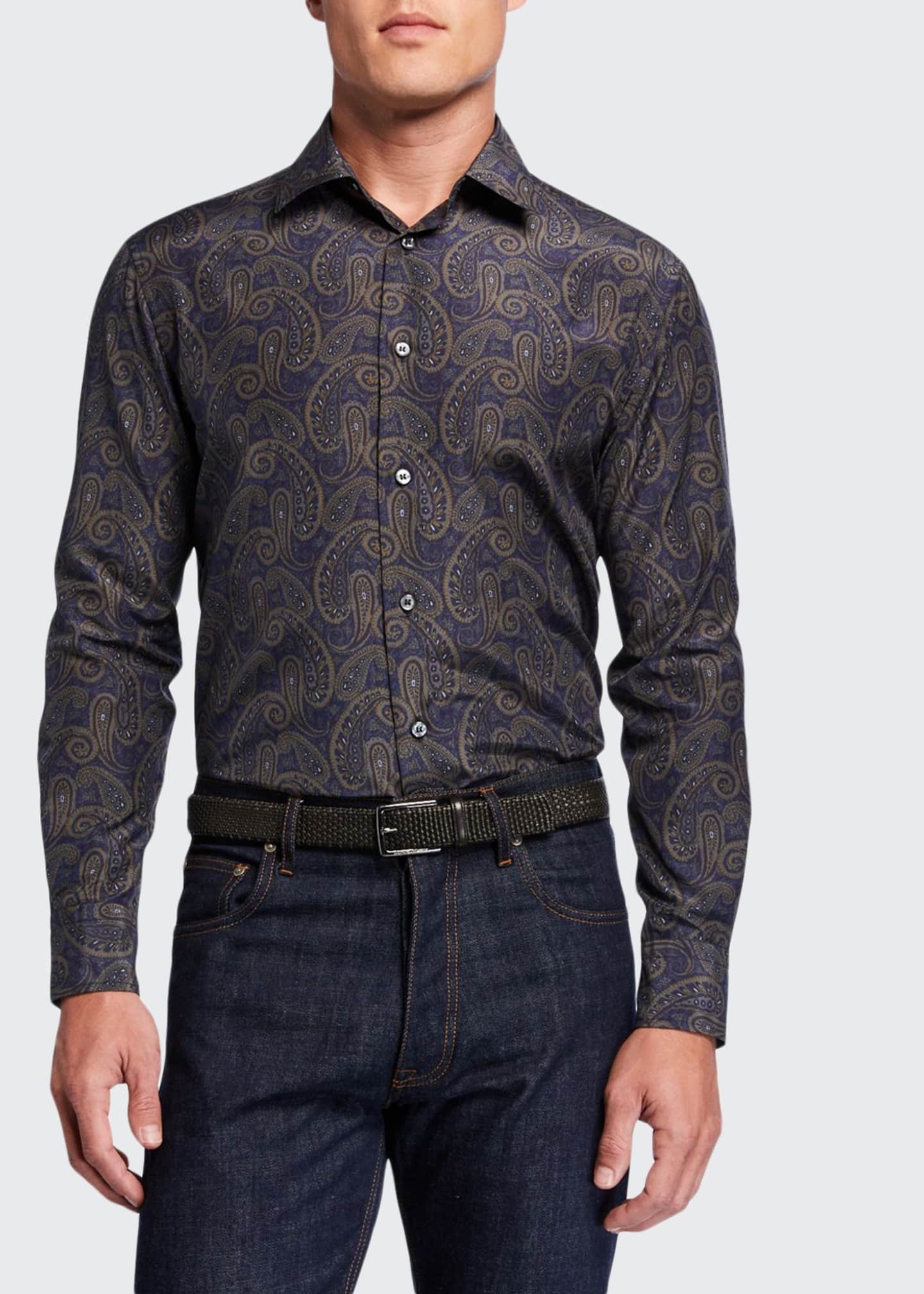 Men's Silk-Cotton Paisley Sport Shirt
