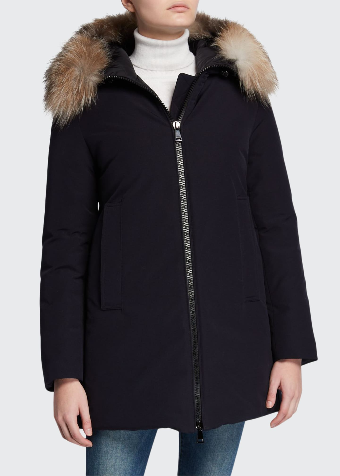 Moncler Blavet Fur-Trim Hooded Coat