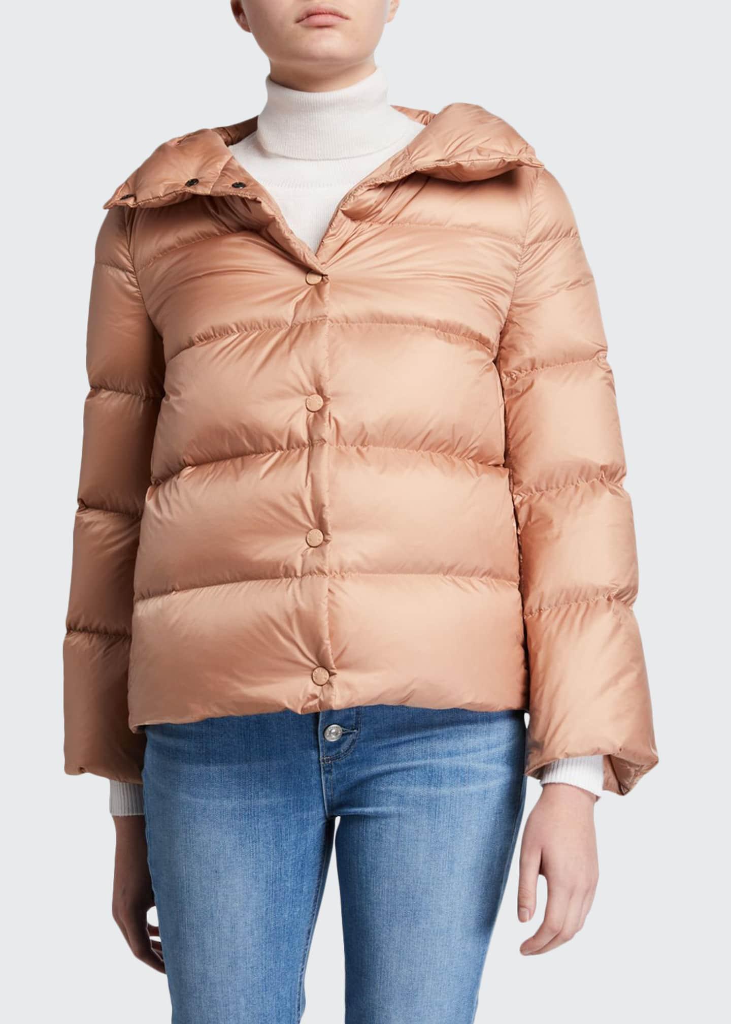 Moncler Aude Snap-Placket Puffer Coat