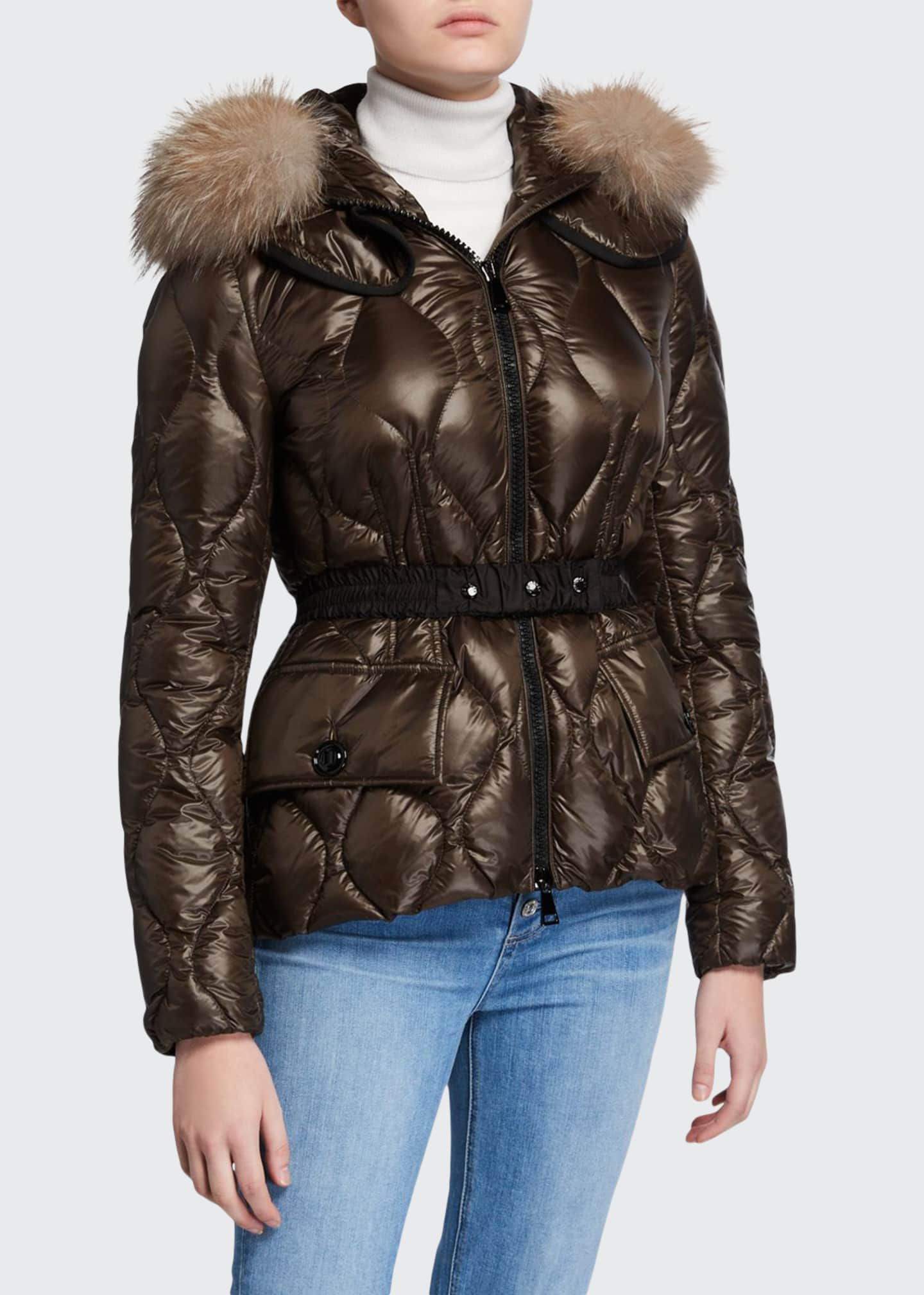 Moncler Cauvery Belted Diamond-Puffer Coat w/ Fur-Trim Hood