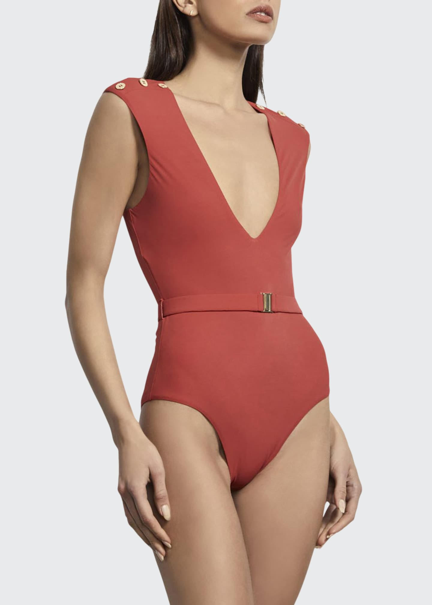 Amaio Swim Fantine Plunging Belted Maillot One-Piece Swimsuit