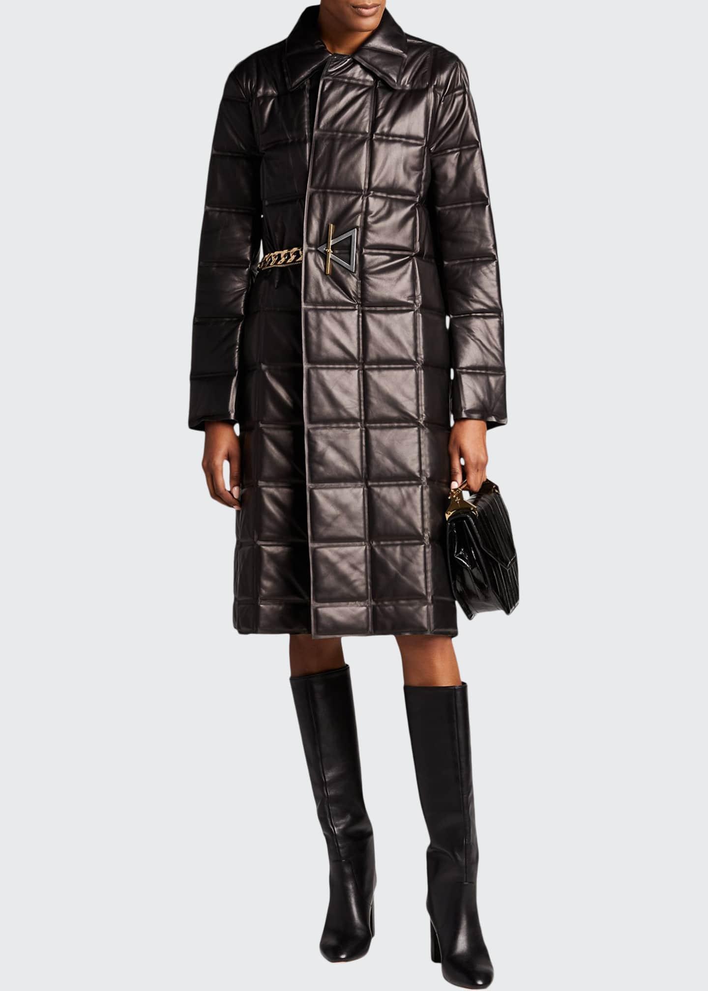 Bottega Veneta Bonded Quilted-Leather Chain-Belted Coat