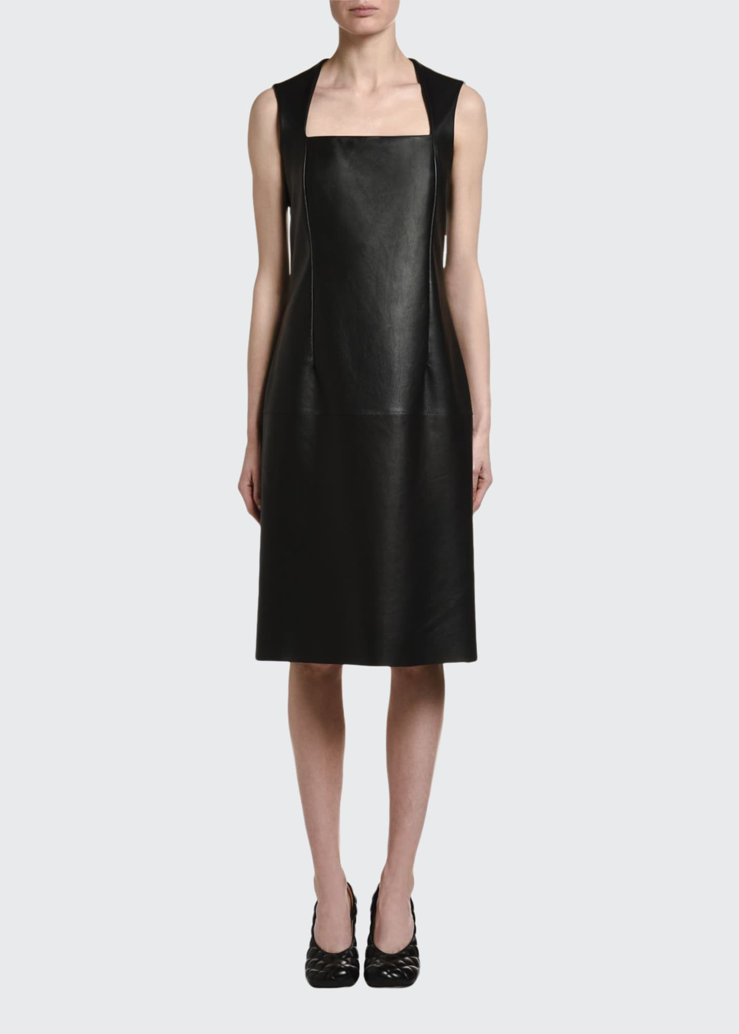 Image 1 of 2: Sleeveless Square Halter-Neck Leather Dress