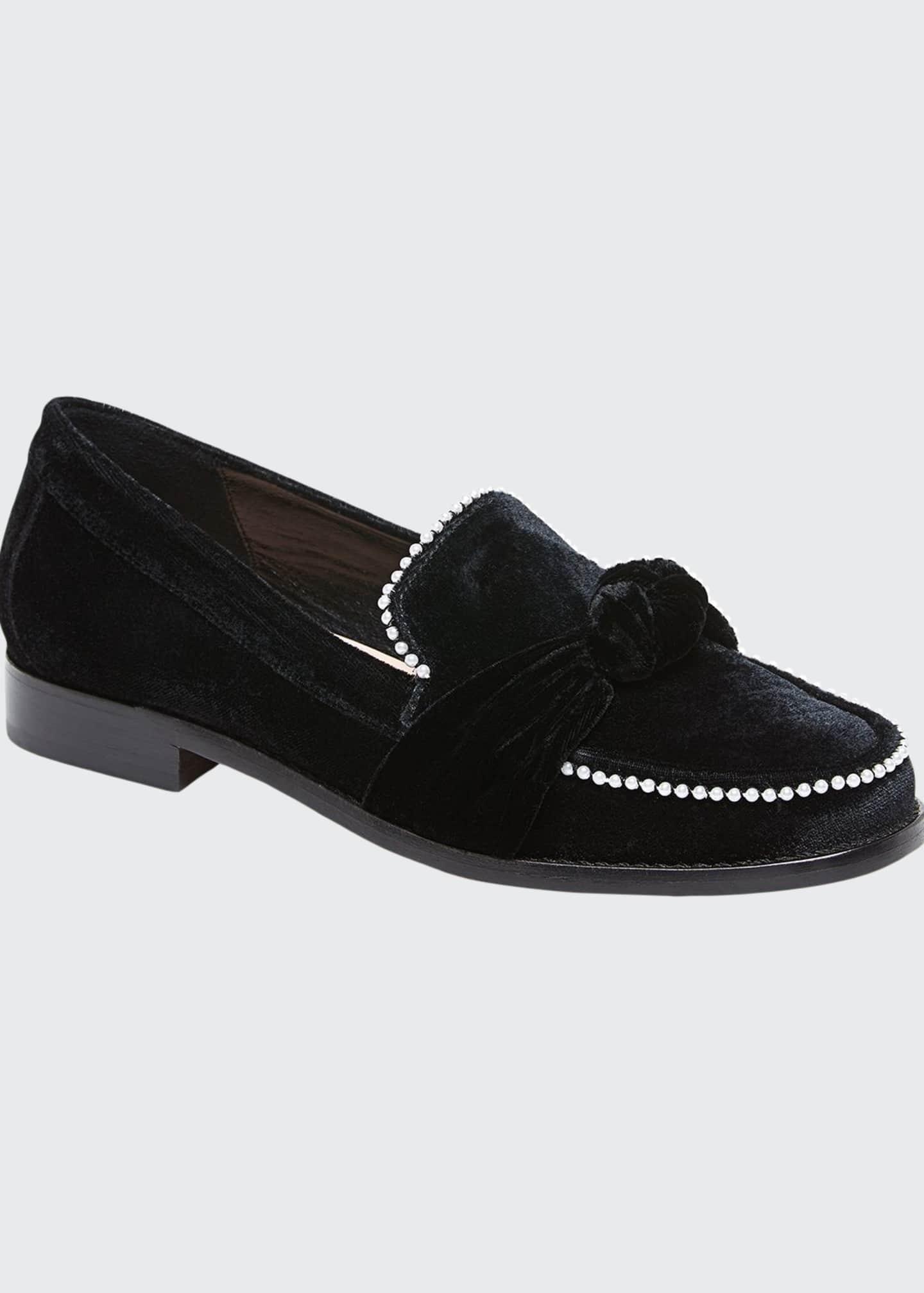 Loeffler Randall Elina Velvet Knot Loafers