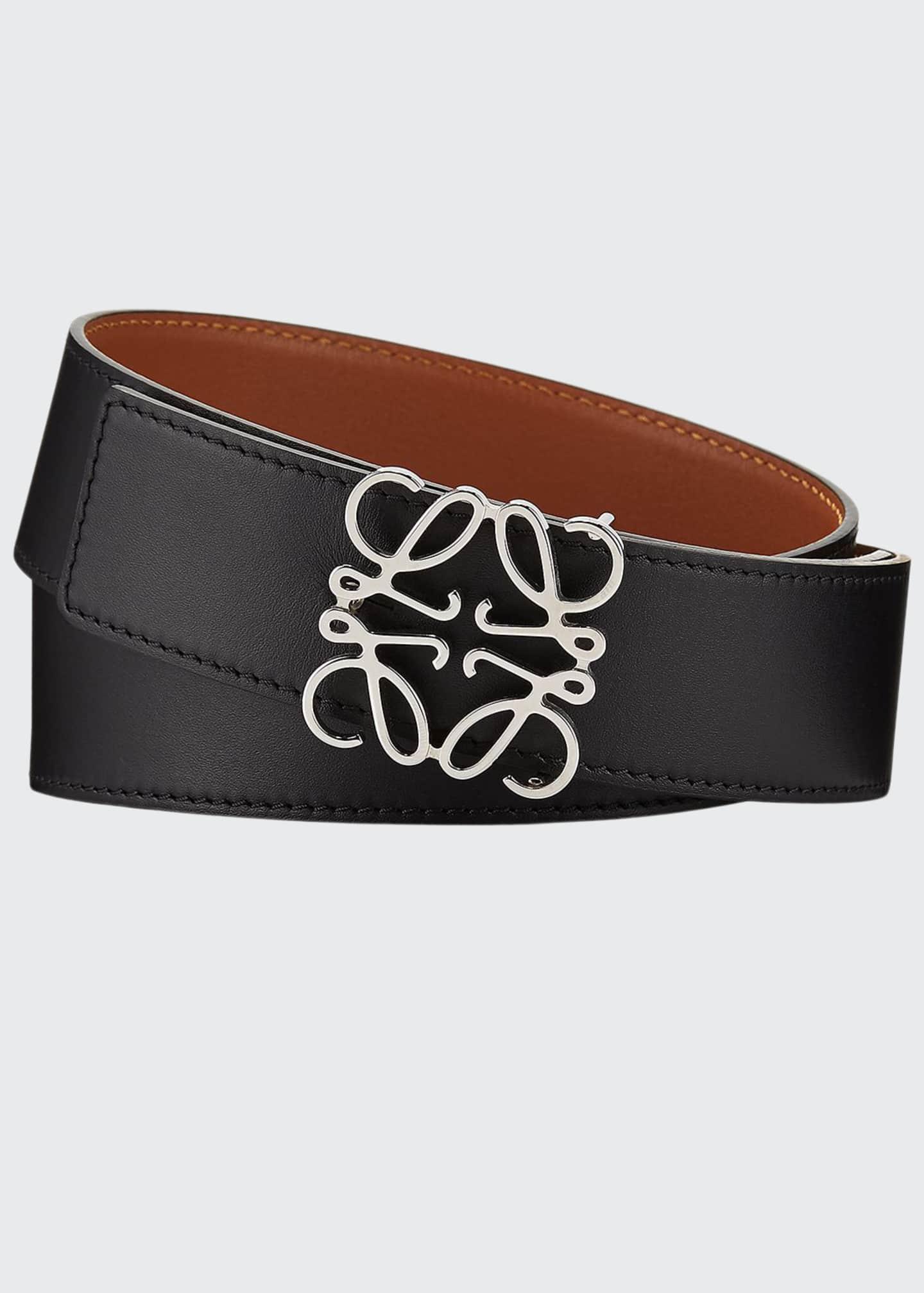 Loewe Reversible Silver Anagram-Buckle Belt, Black/Tan