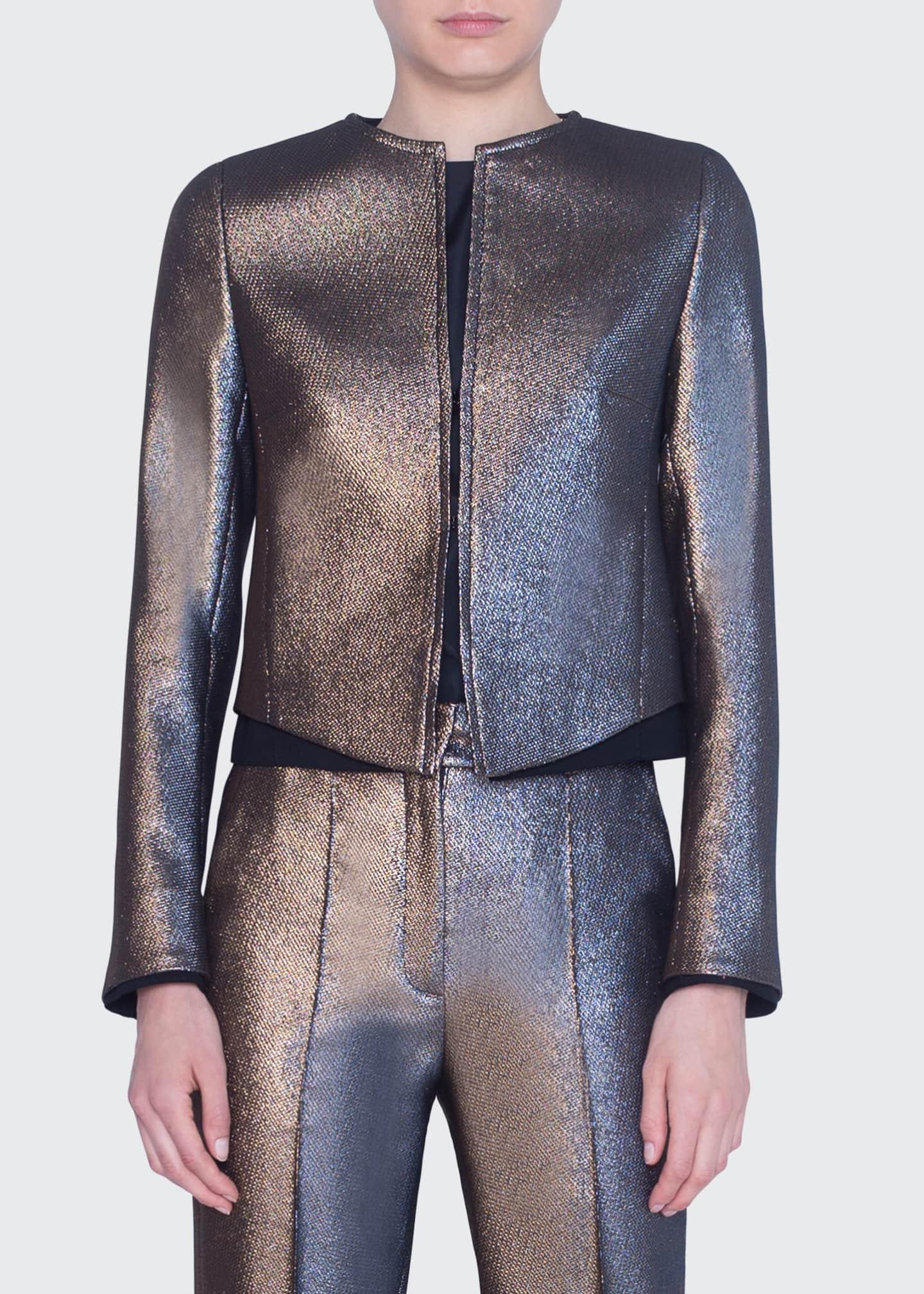 Akris punto Iridescent Golden Zip-Front Jacket