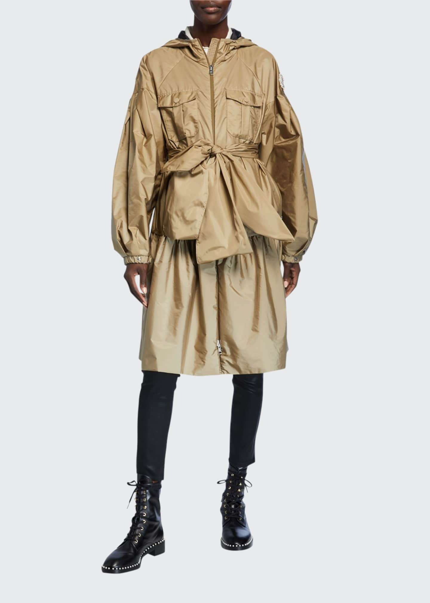 Moncler Genius Ellen Oversized Bow Raincoat w/ Hood