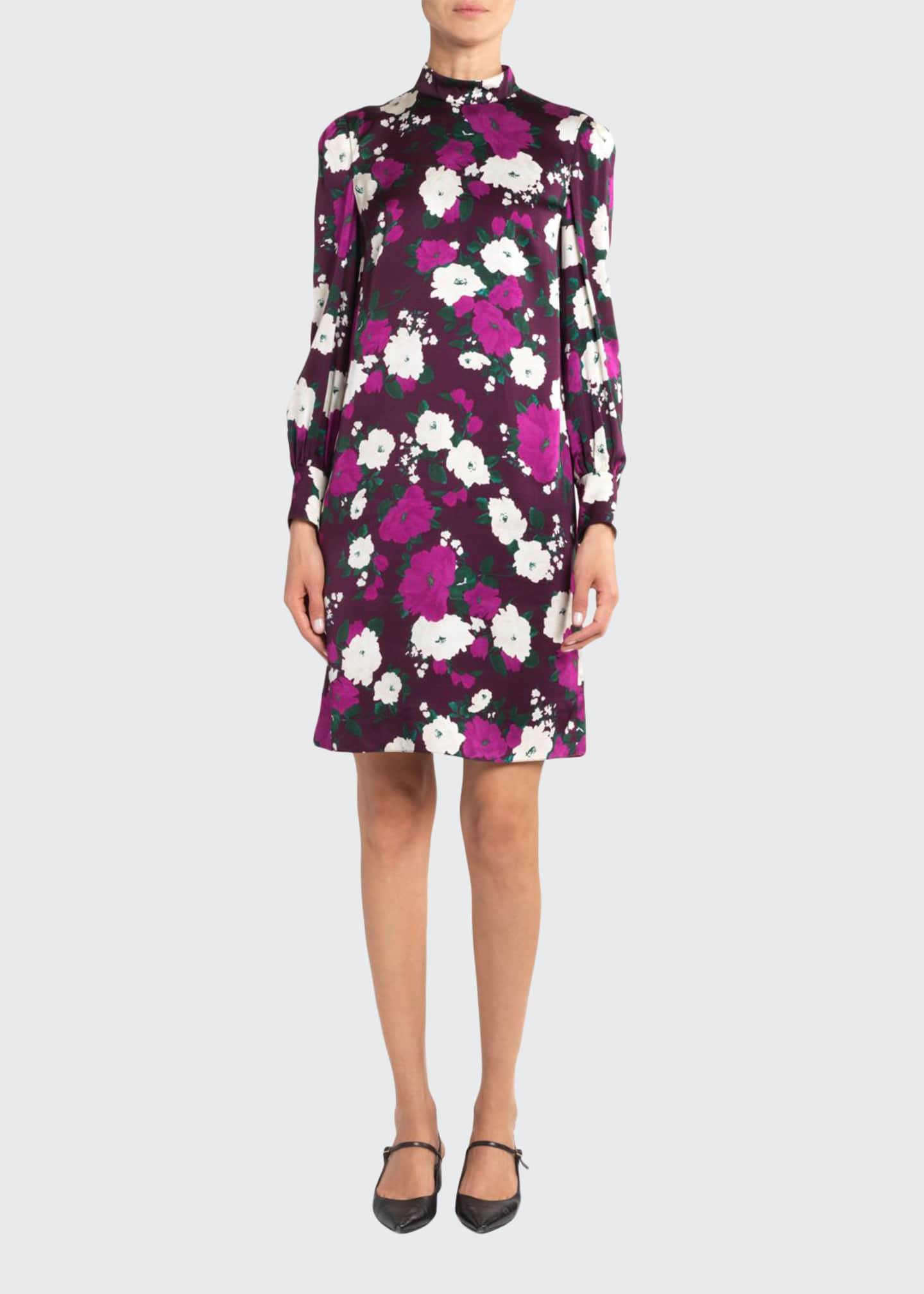 Erdem Floral Satin Long-Sleeve Shift Dress