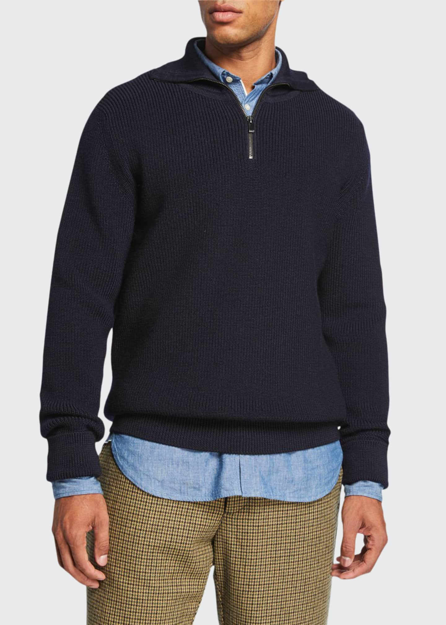 Salle Privee Men's Rikard Merino Wool Ribbed Quarter-Zip