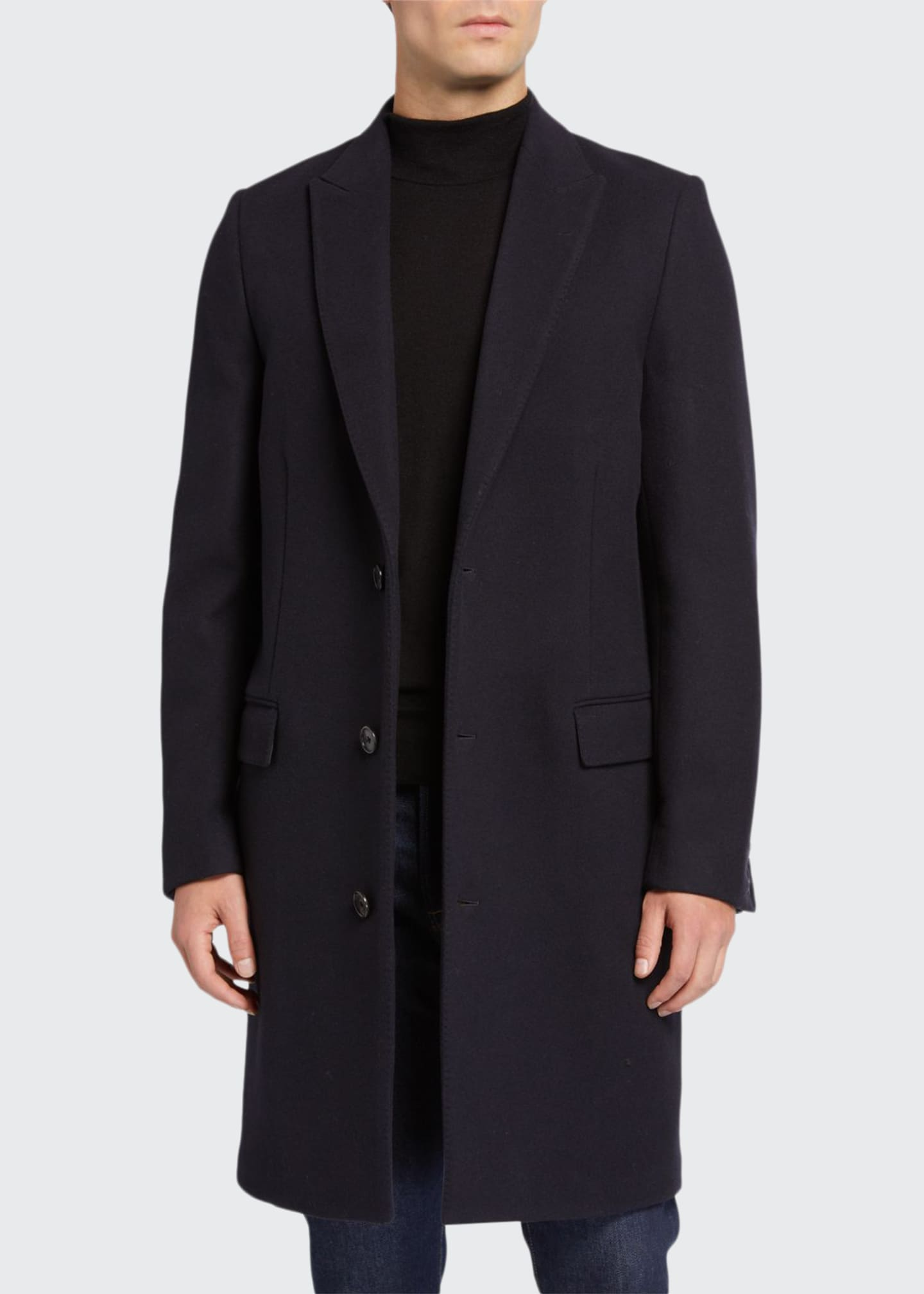 Image 1 of 3: Men's Gilles Single-Breasted Wool-Blend Overcoat