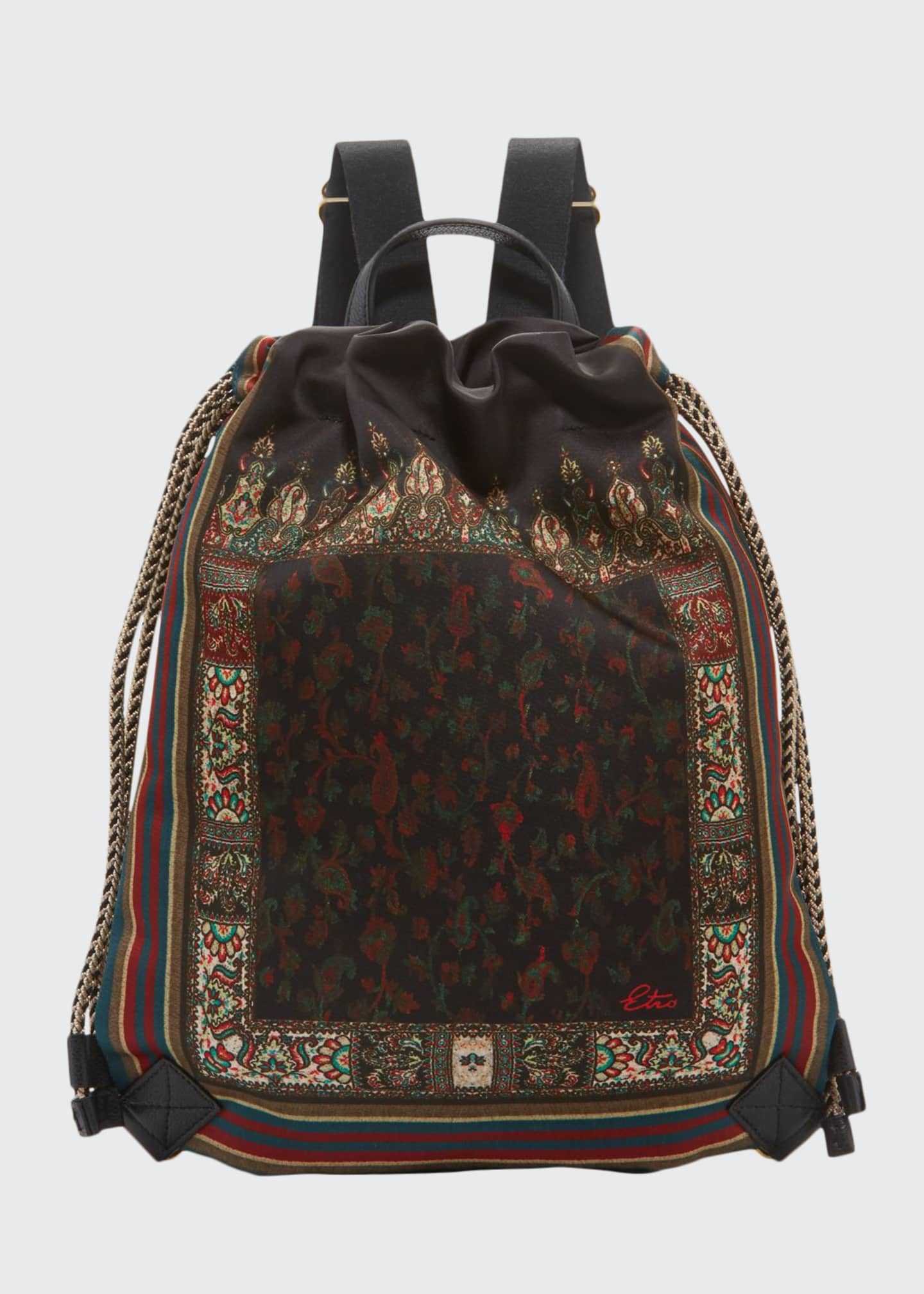 Etro Mini Floral Satin Cinch Backpack