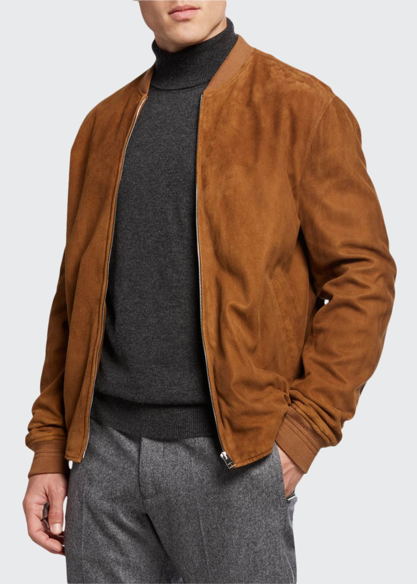 Image 1 of 3: Men's Alvar Lamb Suede Zip Bomber Jacket