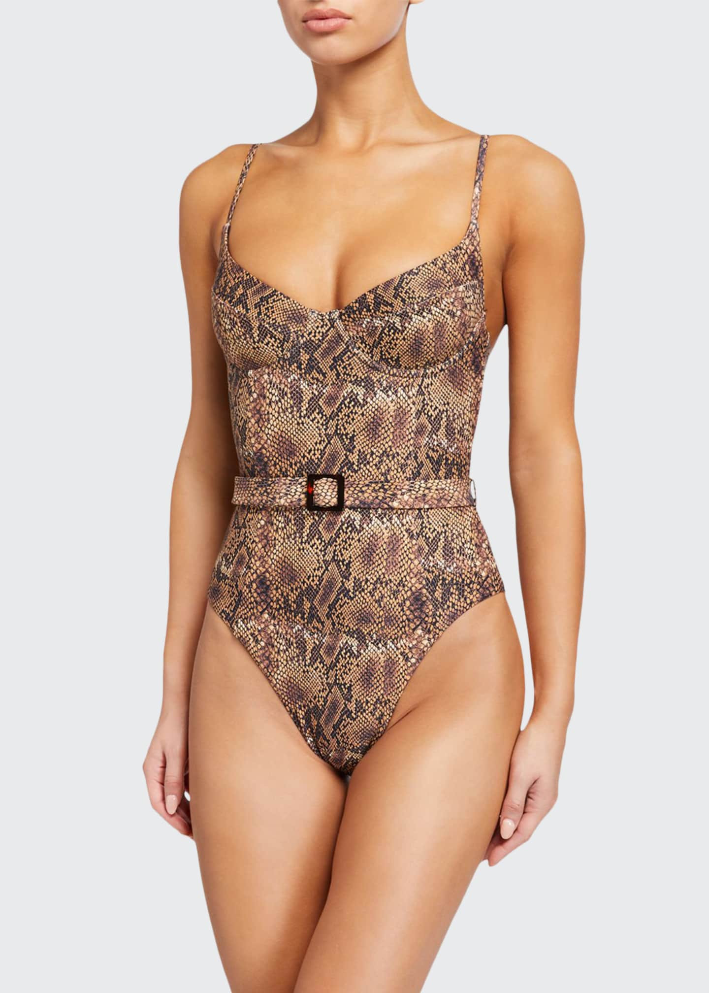 Image 1 of 2: Danielle Belted Python-Print One-Piece Swimsuit