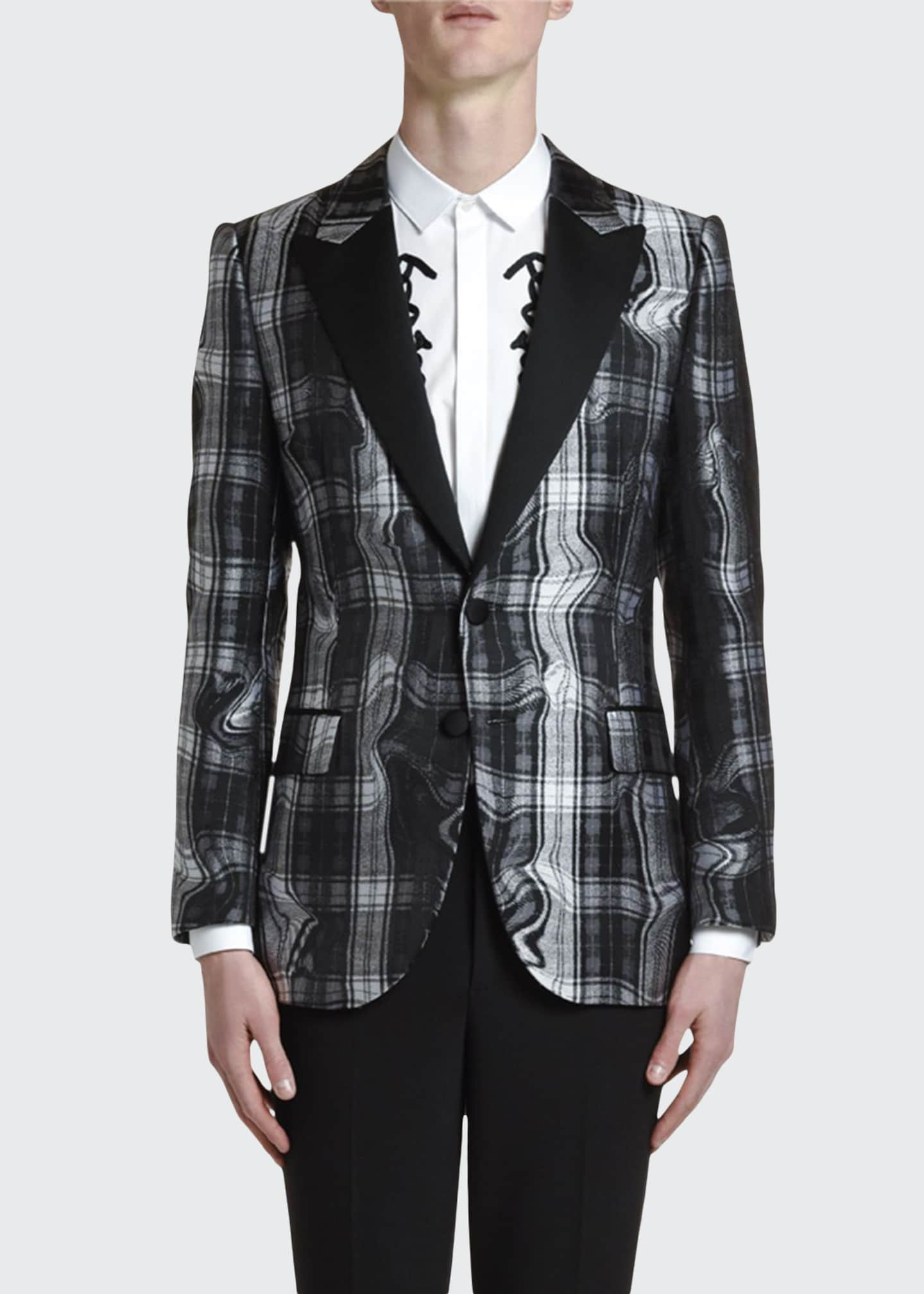 Neil Barrett Men's Distorted Tartan Jacquard Two-Button Jacket