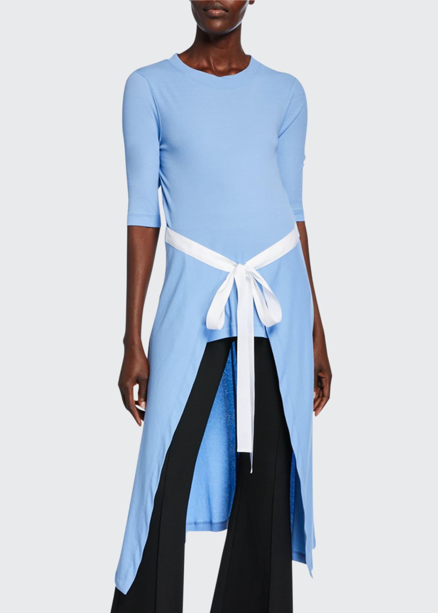 Rosetta Getty Short-Sleeve Apron Shirt