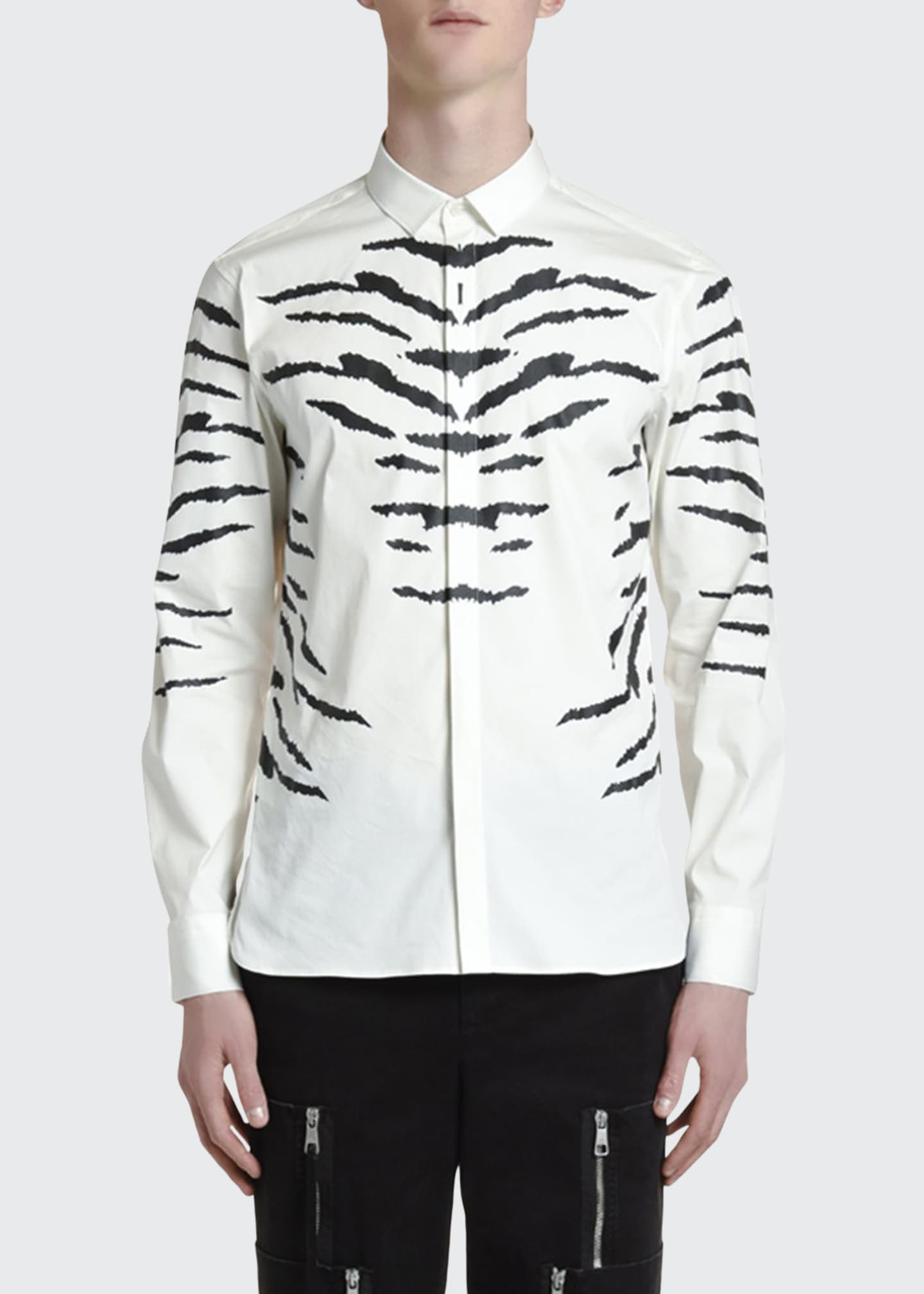 Neil Barrett Men's Tiger Stripe-Print Sport Shirt
