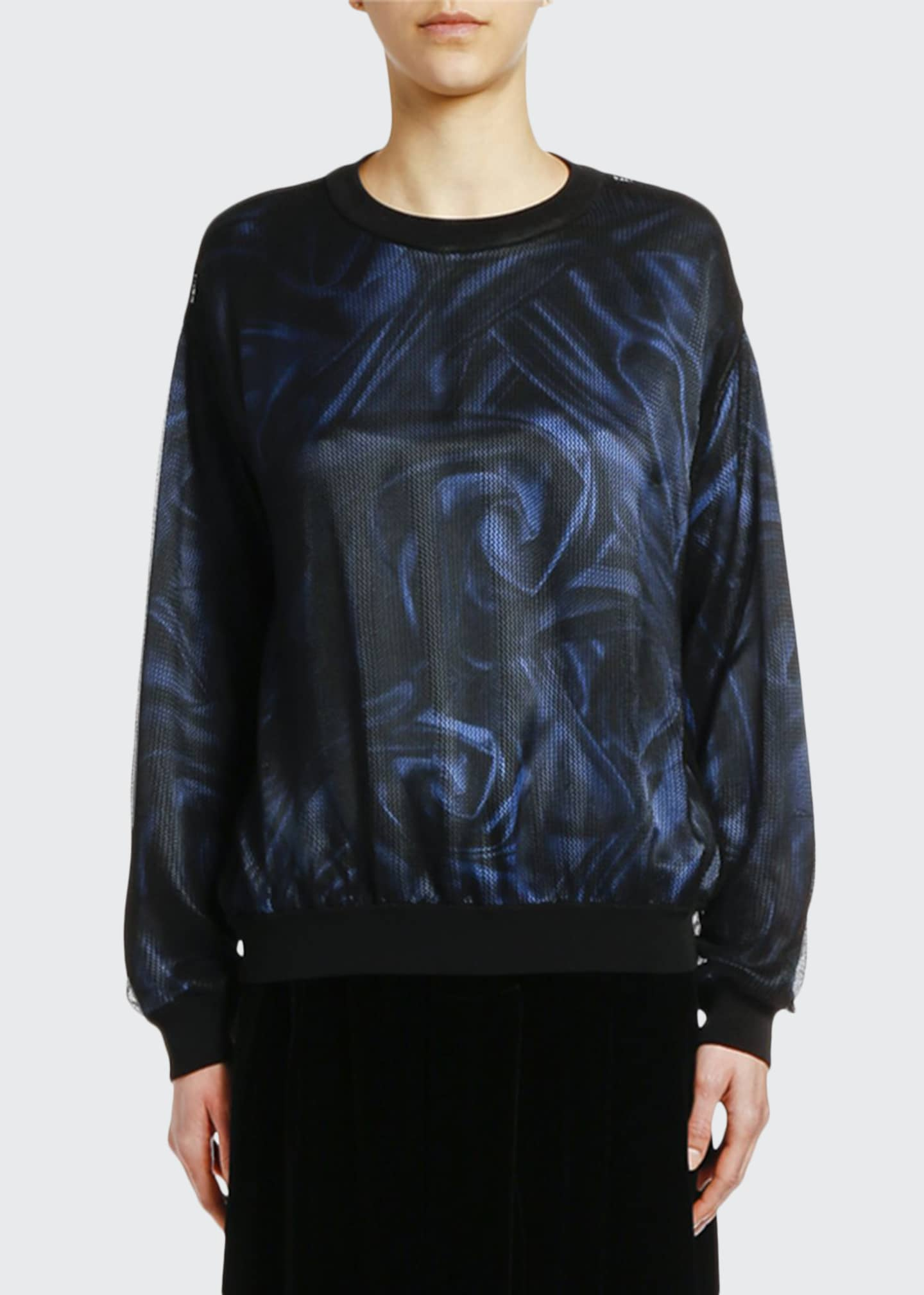 Giorgio Armani Printed Satin Top with Mesh Overlay