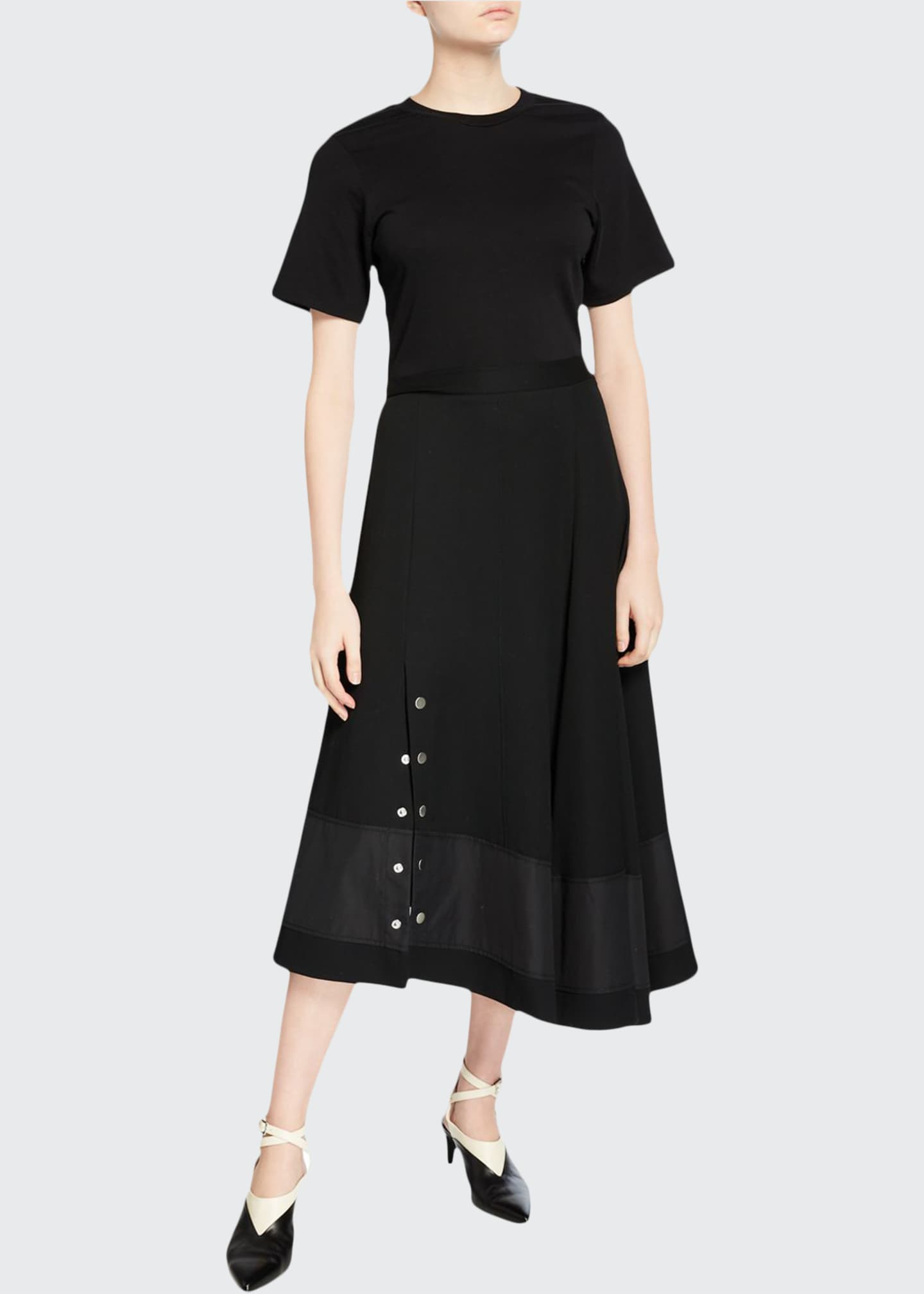 3.1 Phillip Lim Short-Sleeve Flared T-Shirt Dress with