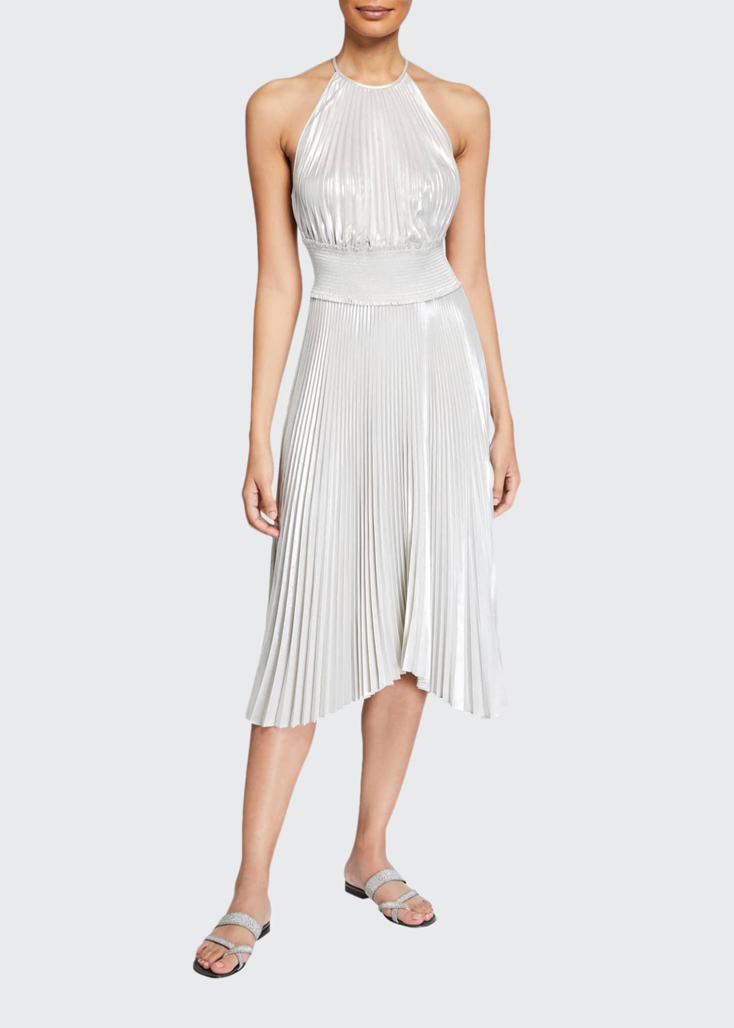 A.L.C. Weston Pleated Metallic Cocktail Dress