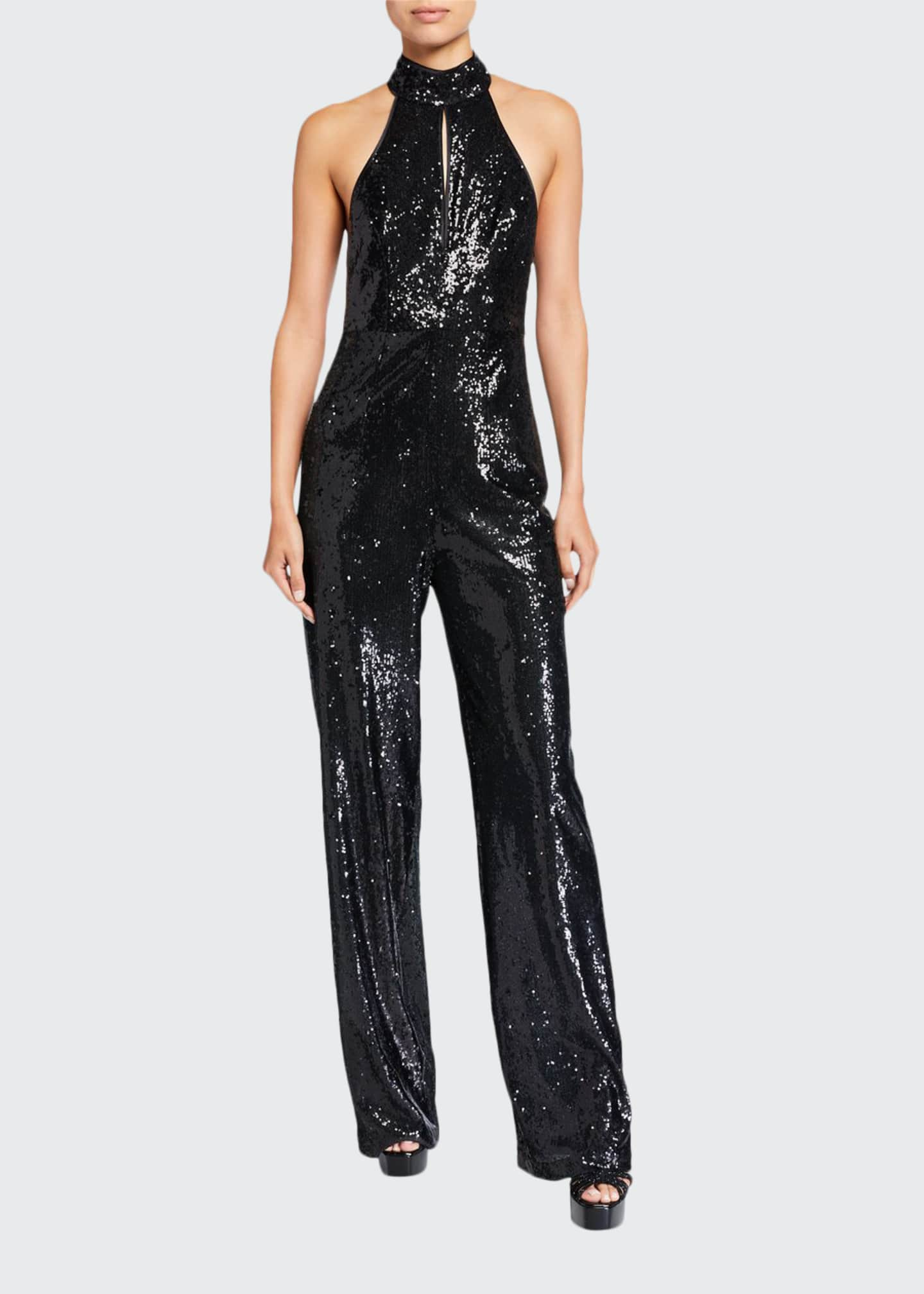 Image 1 of 2: Shelby Sequin Halter Jumpsuit