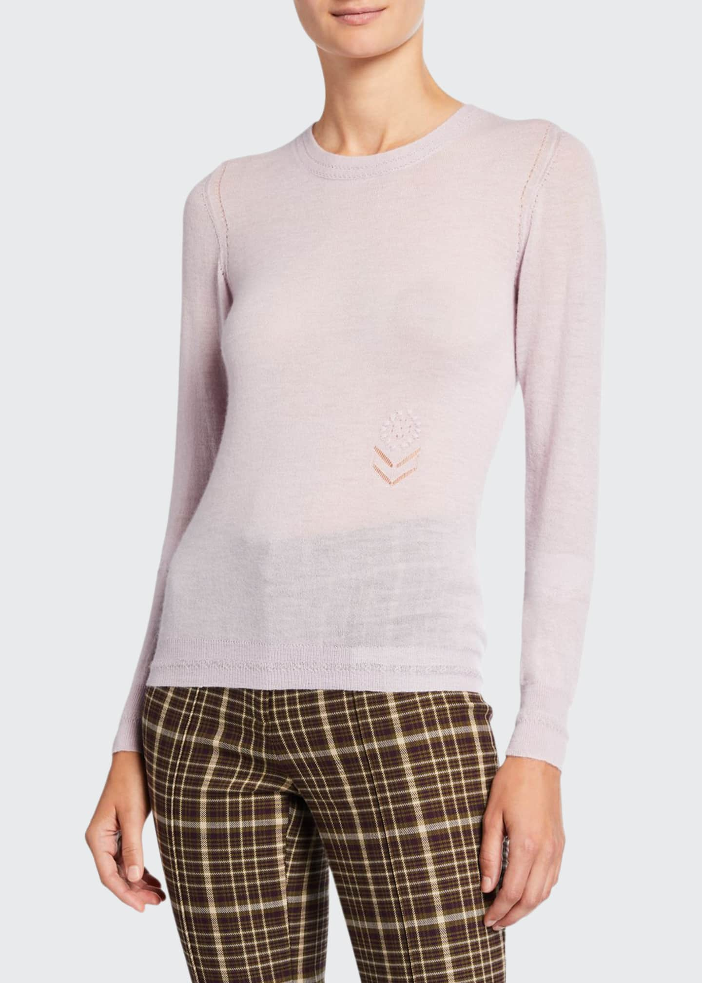Image 1 of 2: Lightweight Cashmere Floral-Embroidered Sweater
