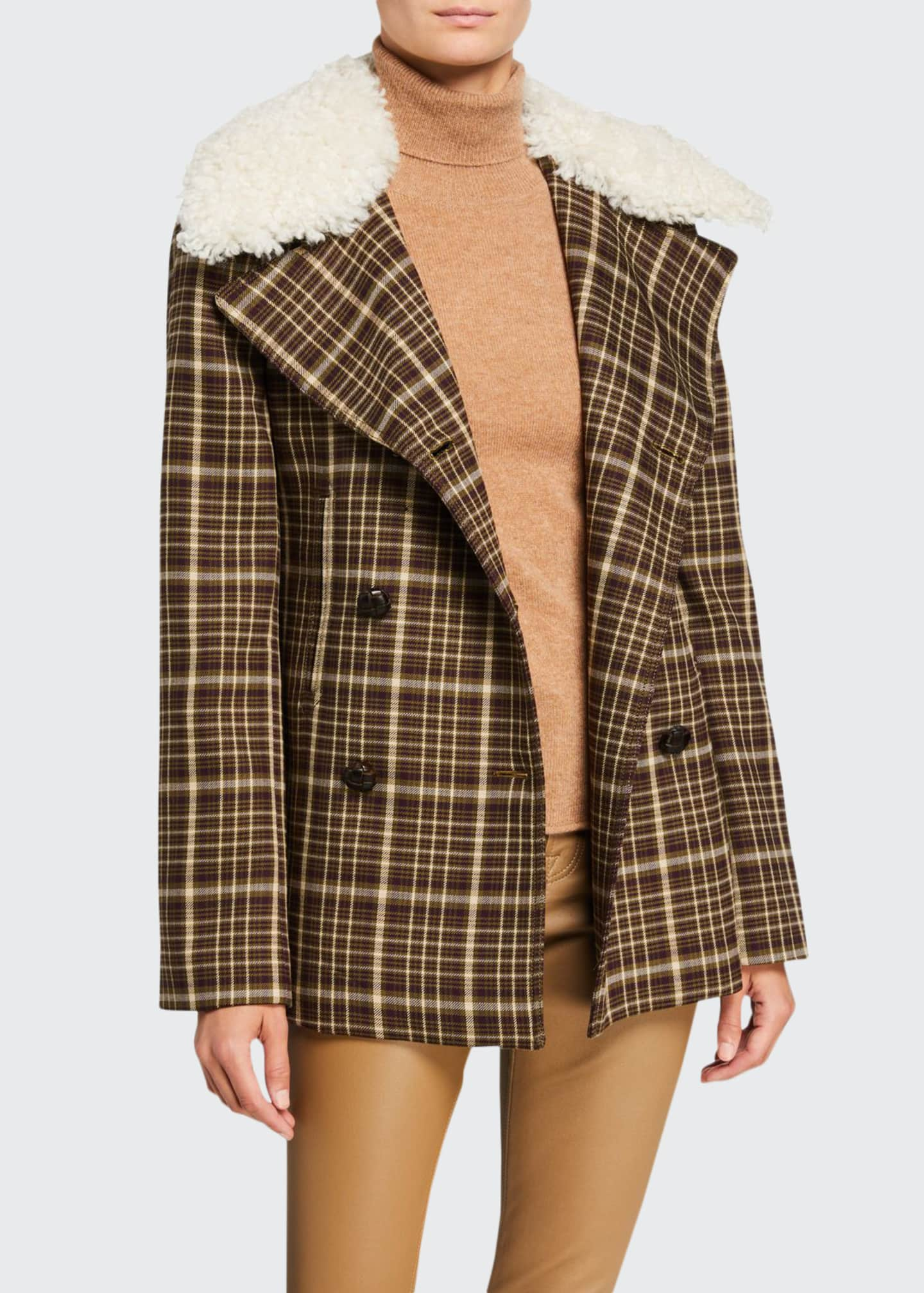 Adam Lippes Double-Face Plaid Wool Pea Coat with