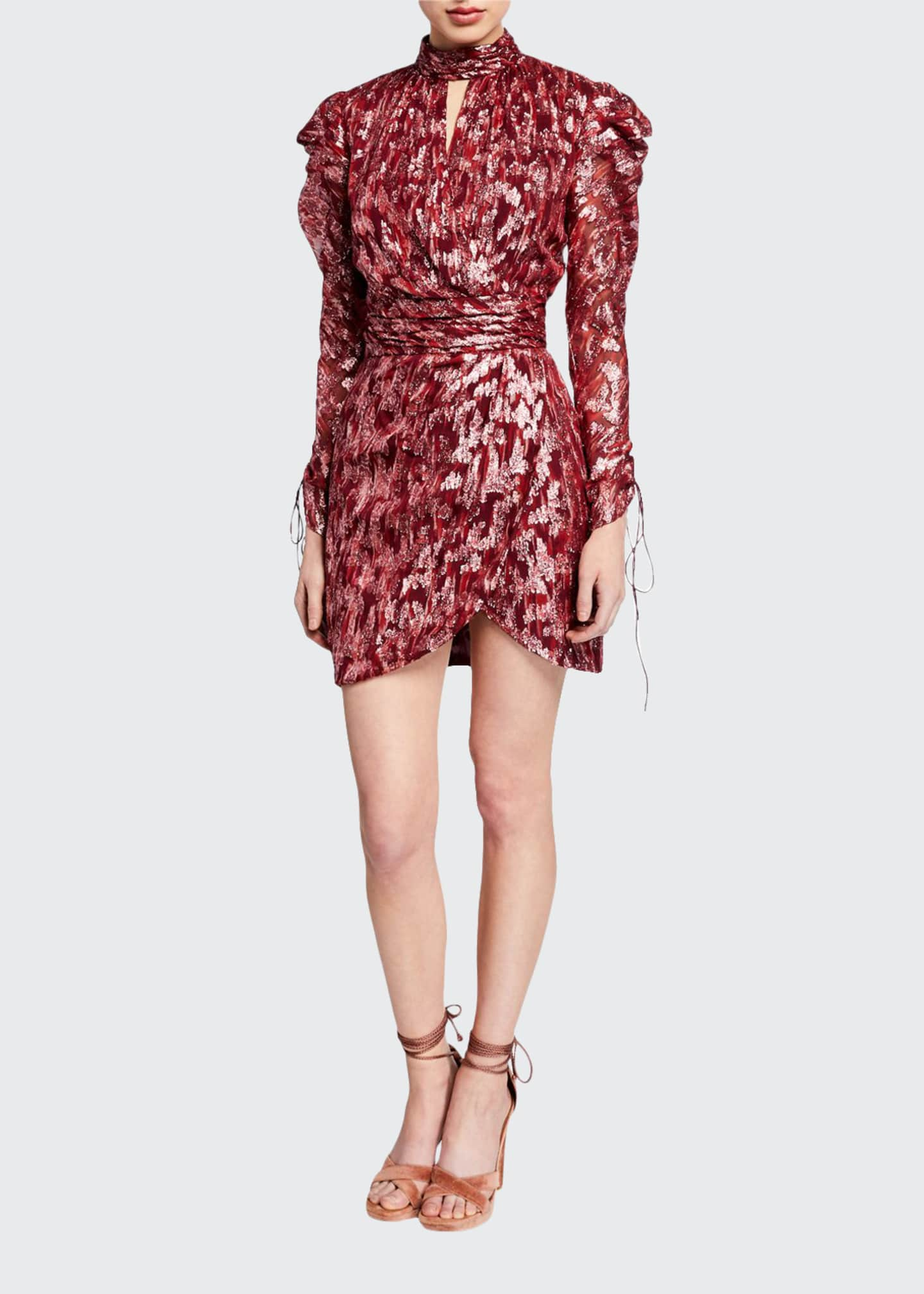 Jonathan Simkhai Metallic Vine Jacquard Mock-Neck Wrap Dress