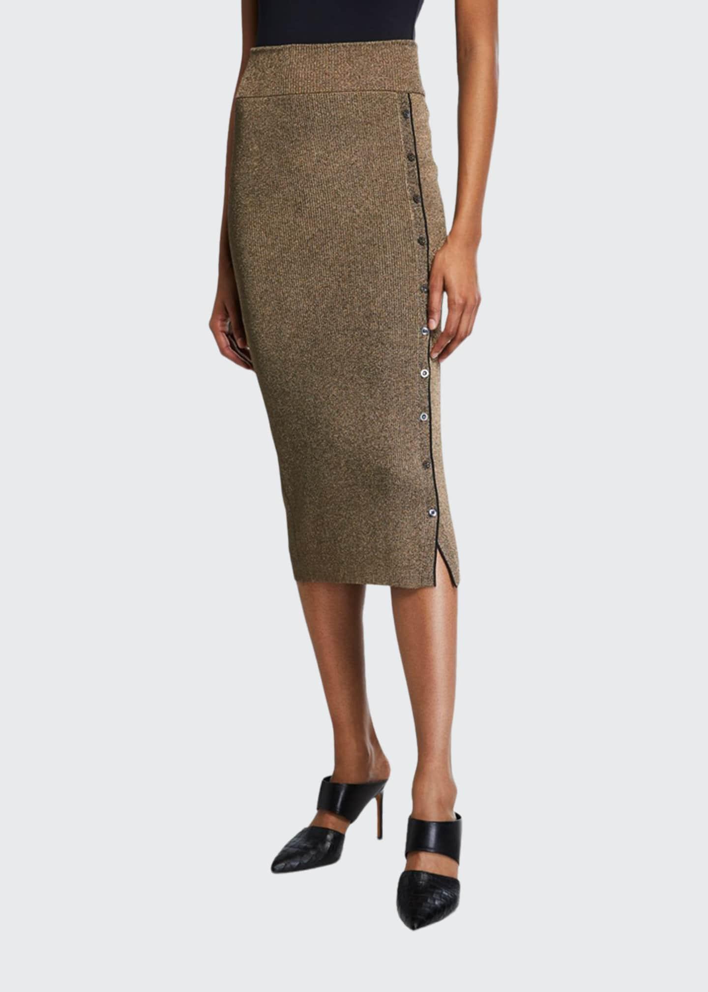 Jonathan Simkhai Metallic Rib Button-Front Midi Skirt