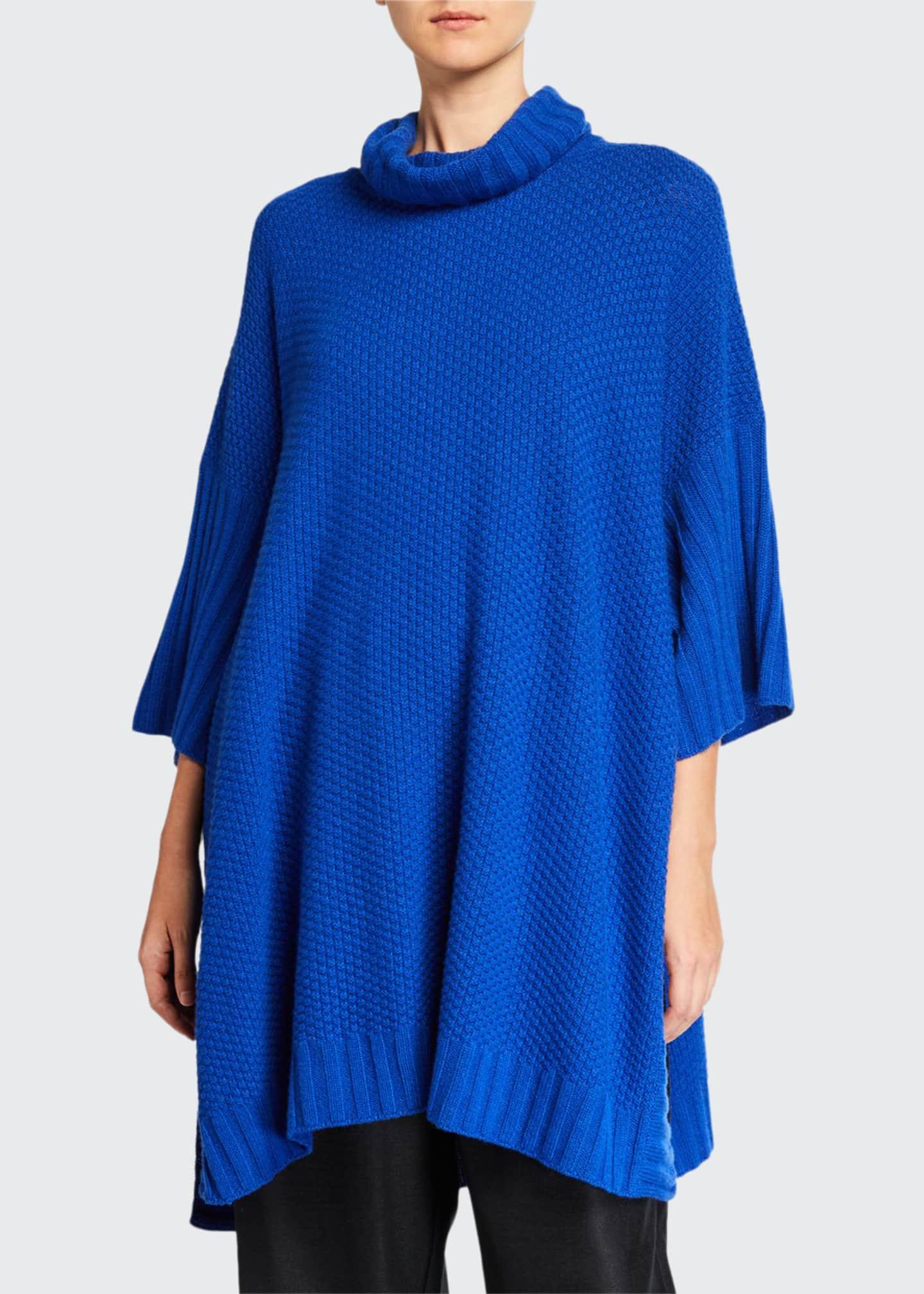 Eskandar 3/4-Sleeve Roll-Neck Poncho Sweater