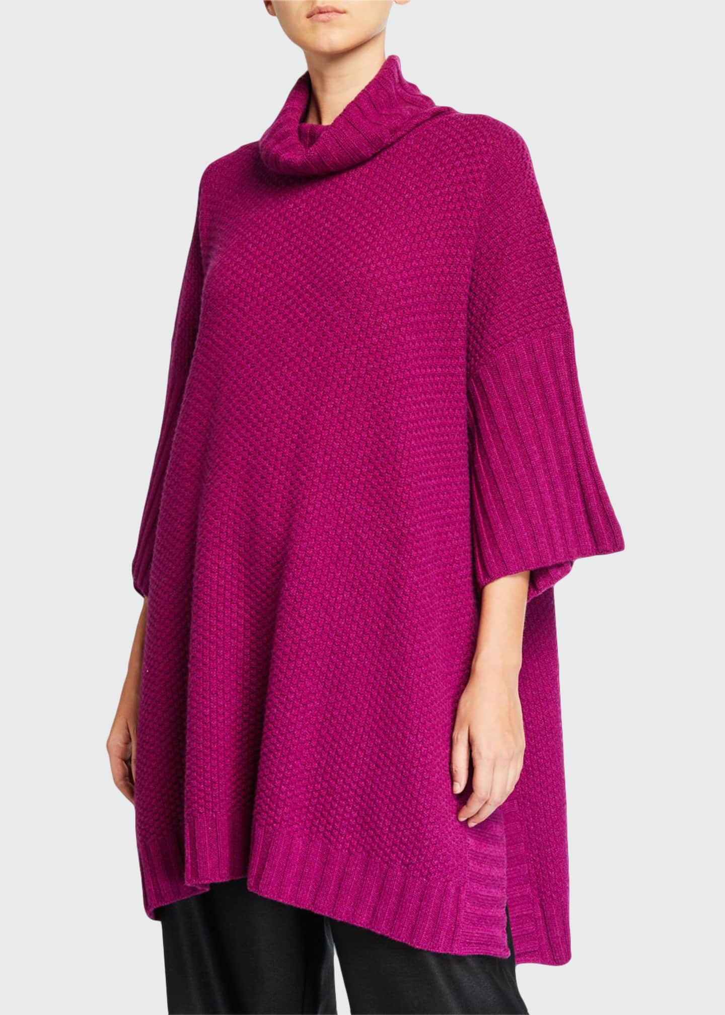 Image 1 of 2: 3/4-Sleeve Roll-Neck Poncho Sweater