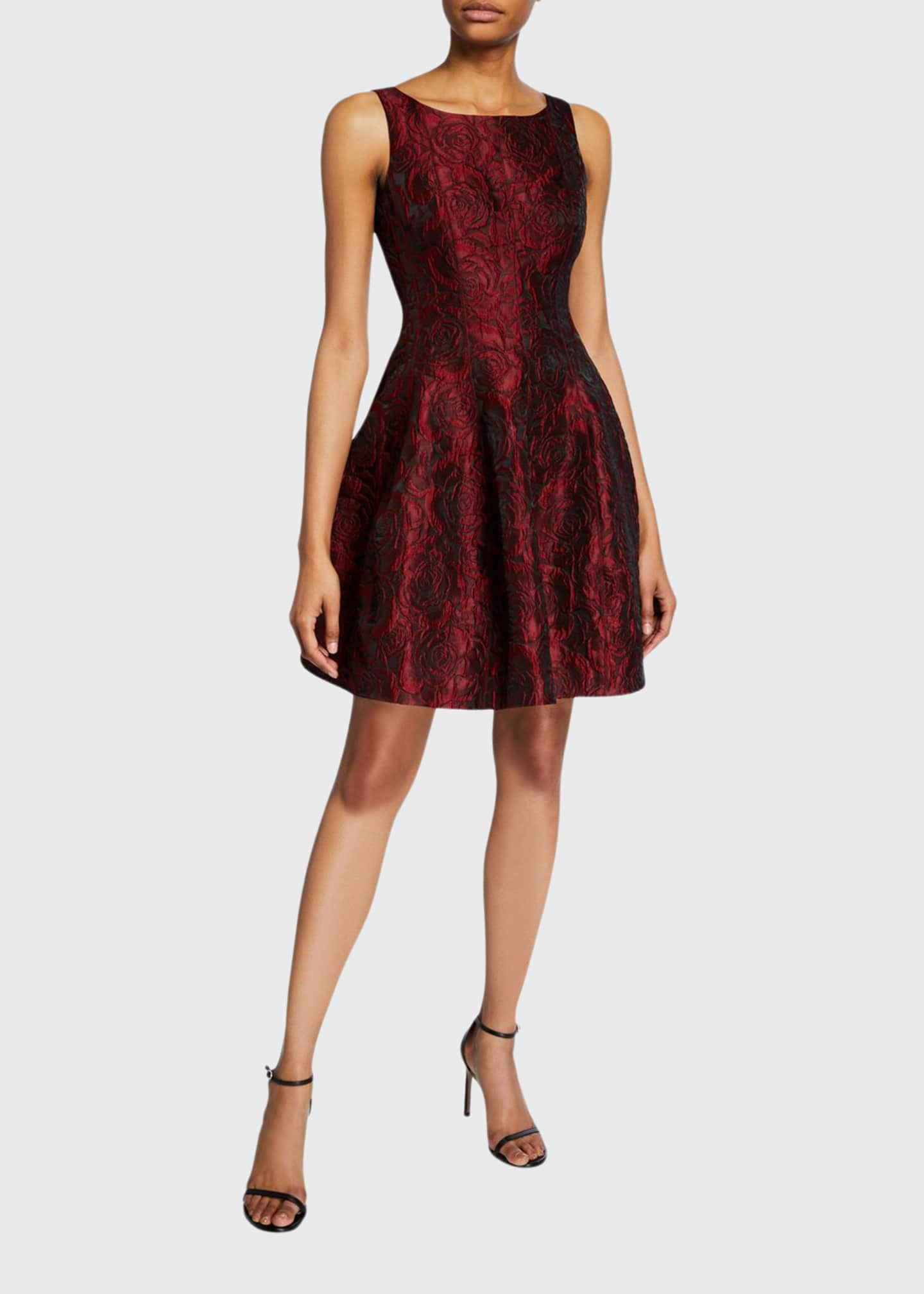 Halston Floral Jacquard Sleeveless Fit-&-Flare Dress