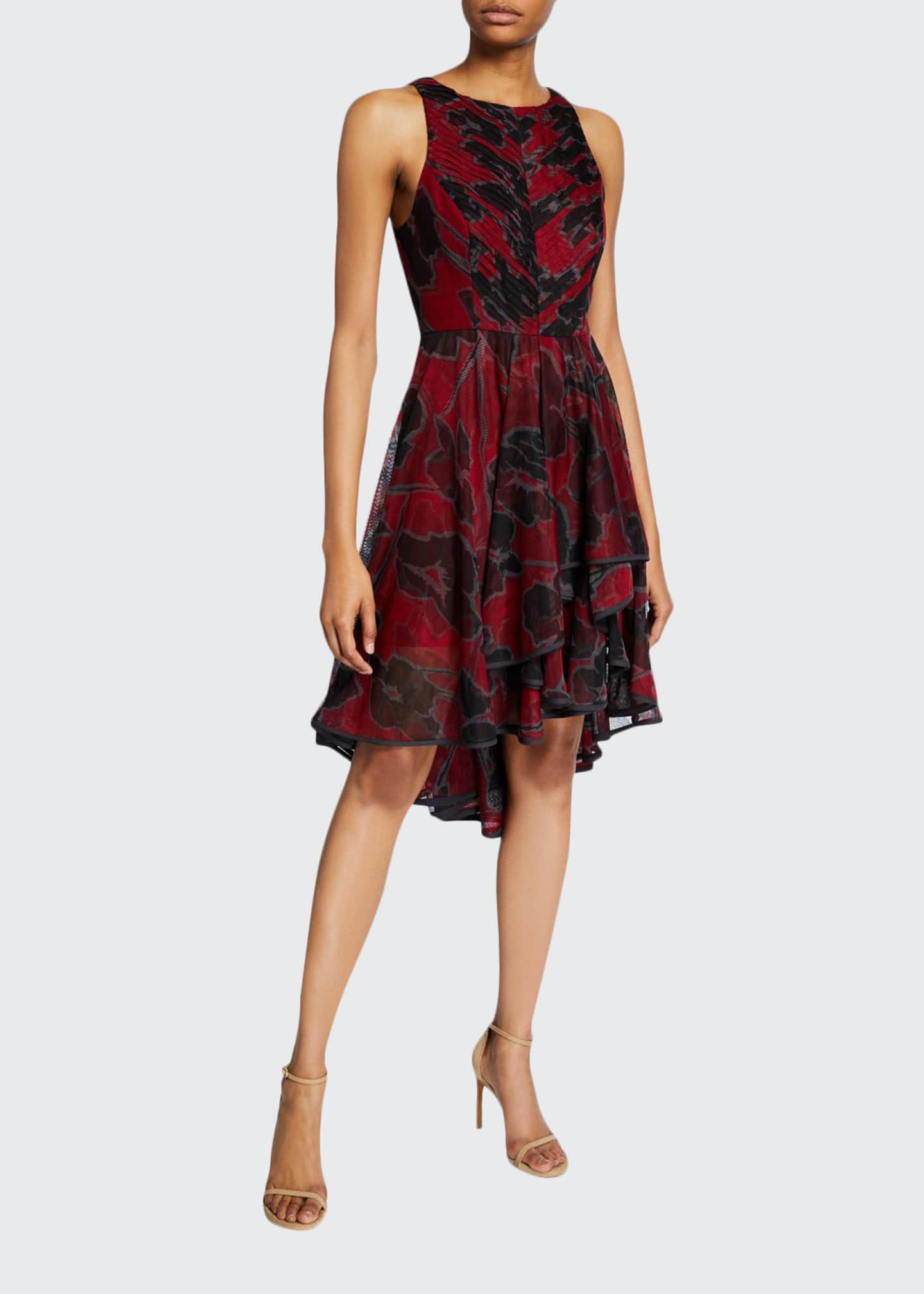 Halston Floral-Print Sleeveless High-Low Tulle Dress
