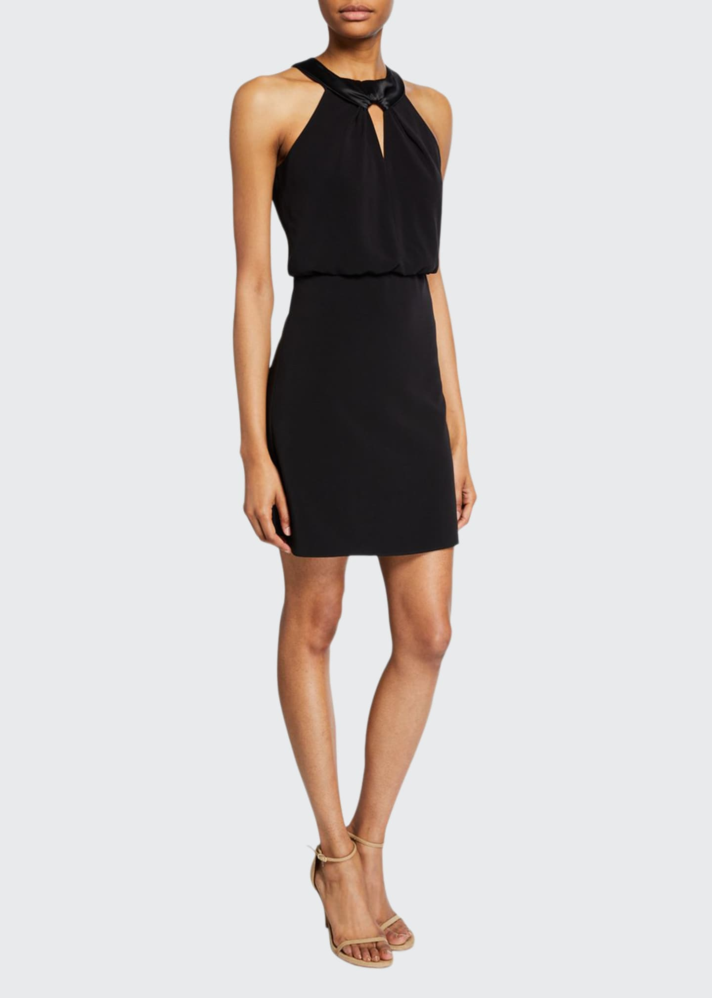 Halston Satin Neck Crepe Halter Dress