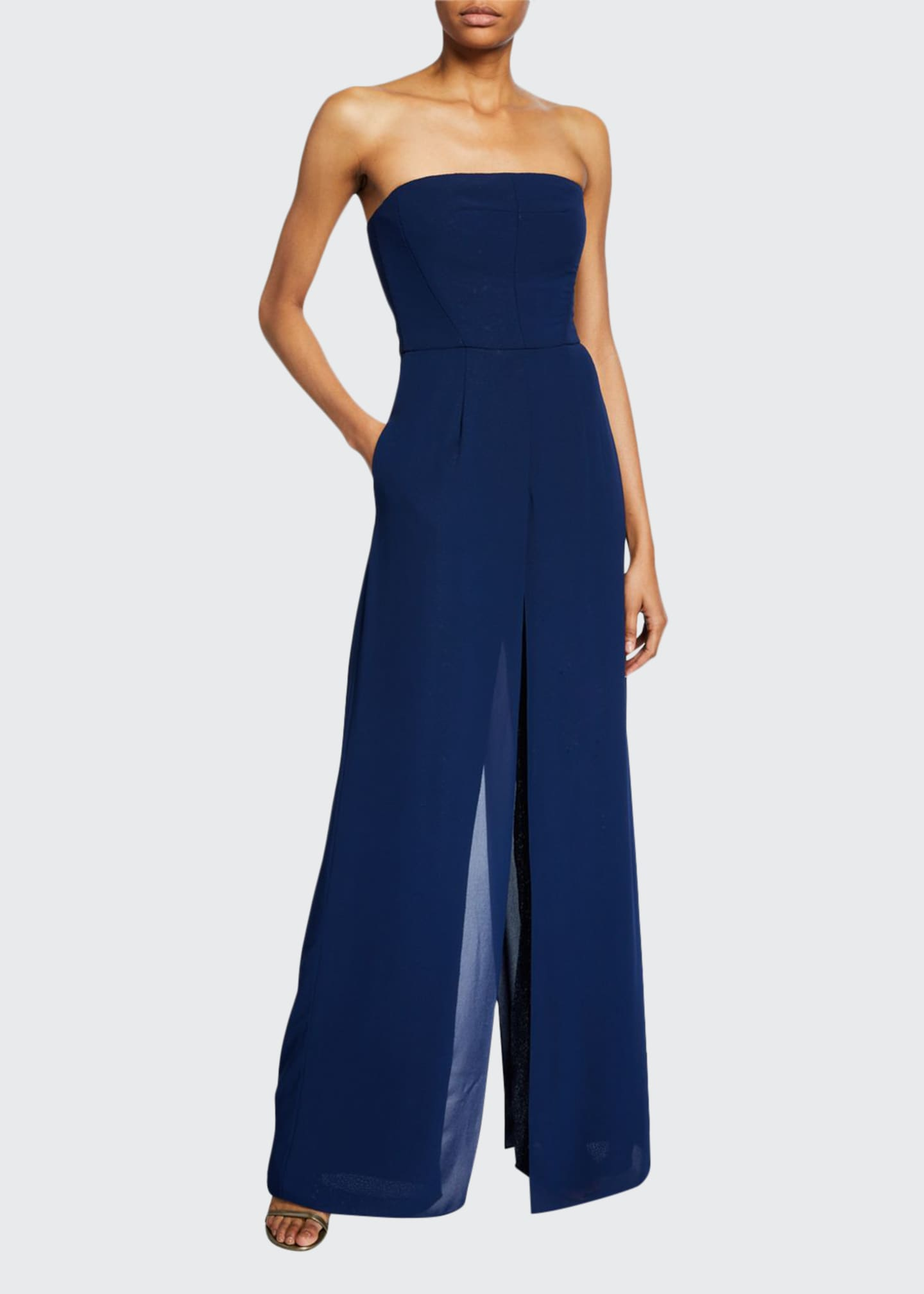 Halston Strapless Georgette Overlay Sequined Jumpsuit