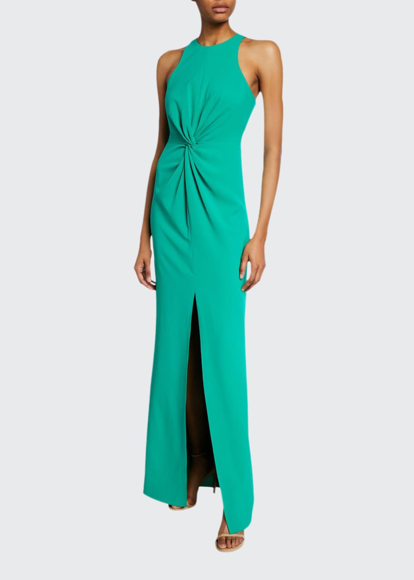 Halston Sleeveless Crepe Gown with Twist Drape Detail
