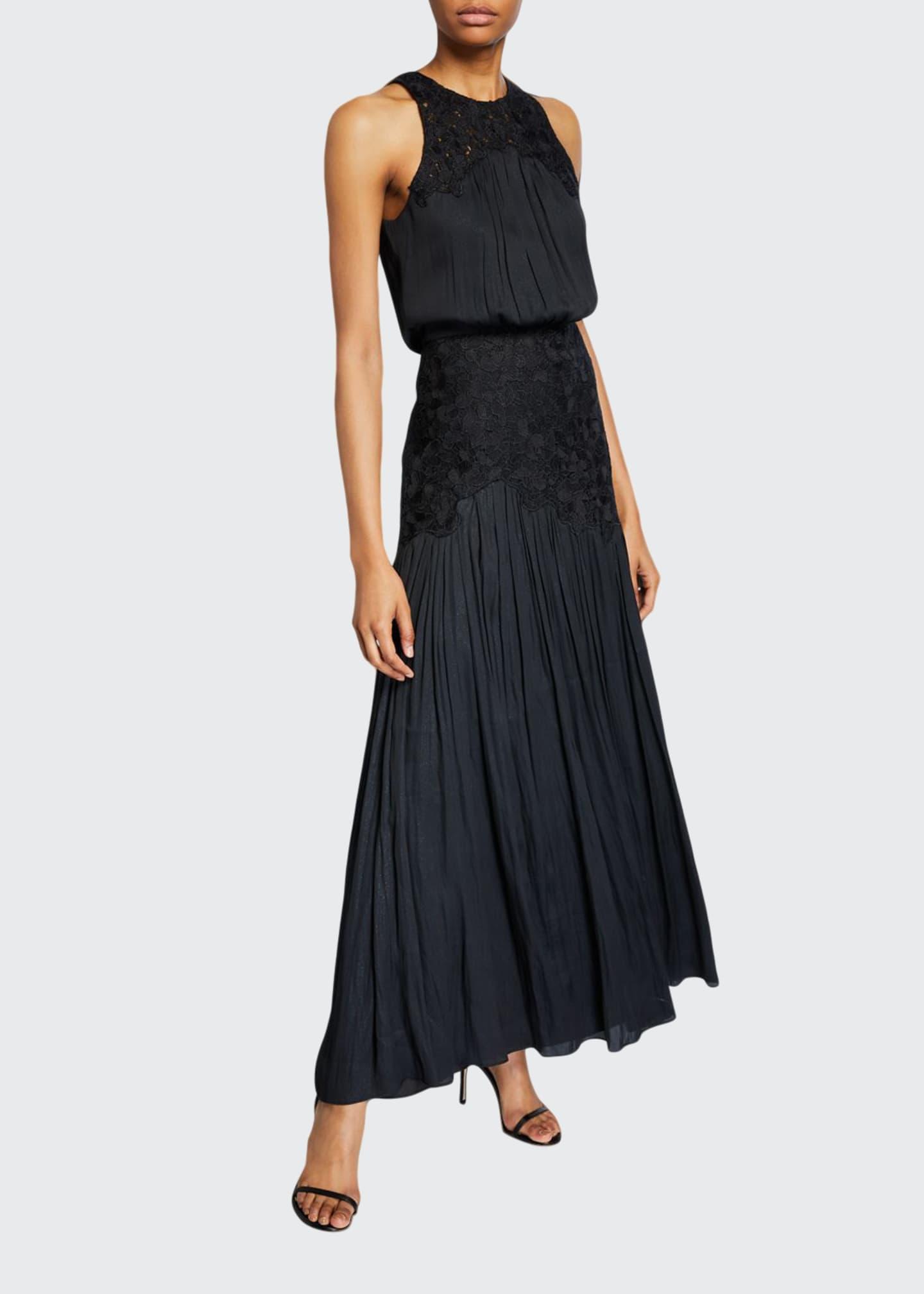 Halston Metallic Memory Georgette Floral Applique Sleeveless Gown