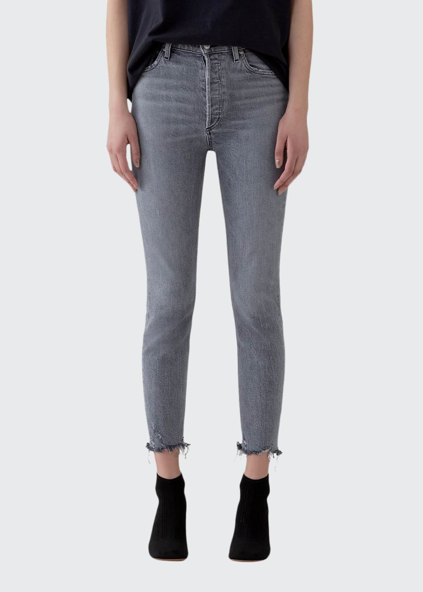 AGOLDE Nico High-Rise Slim Ankle Jeans with Raw