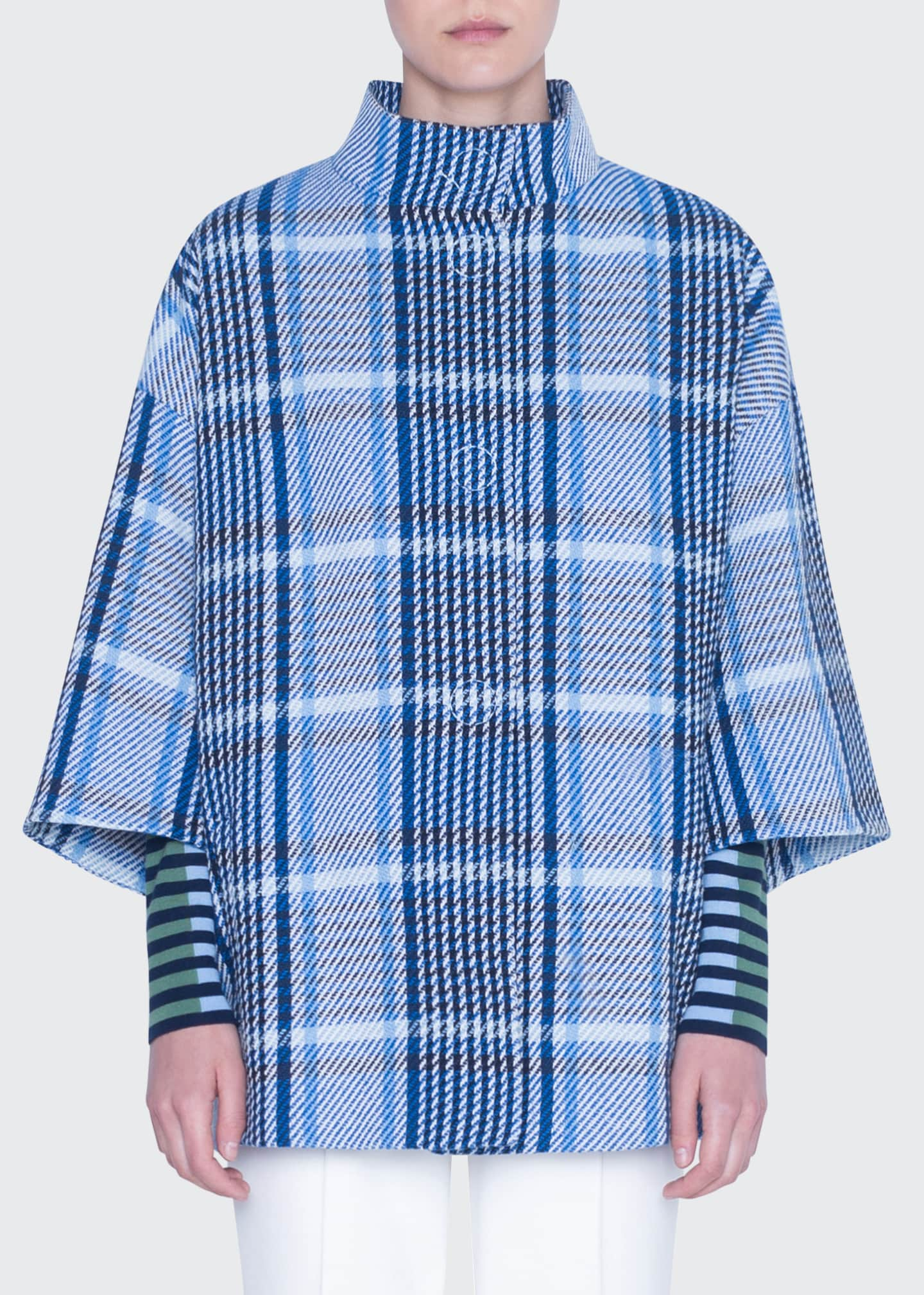 Akris punto Mock-Neck Cotton Tweed Coat