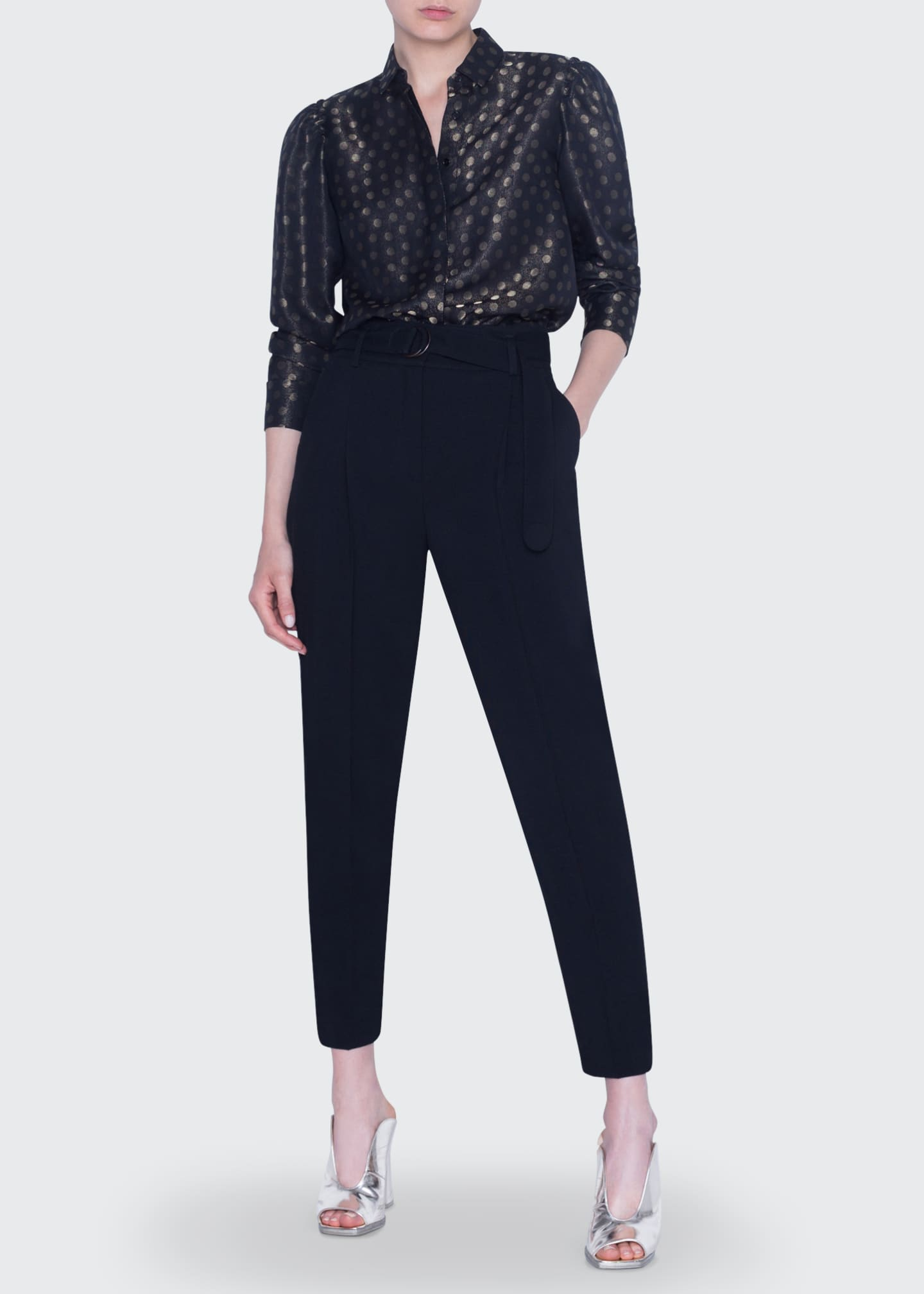 Akris punto Gold-Dot Jacquard Puff-Sleeve Shirt