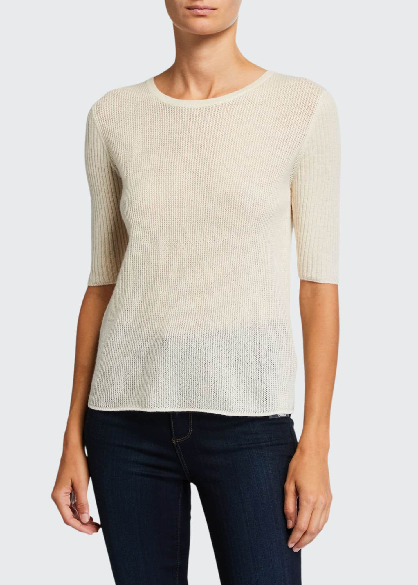 Image 1 of 2: Cashmere Elbow-Sleeve Crewneck Sweater