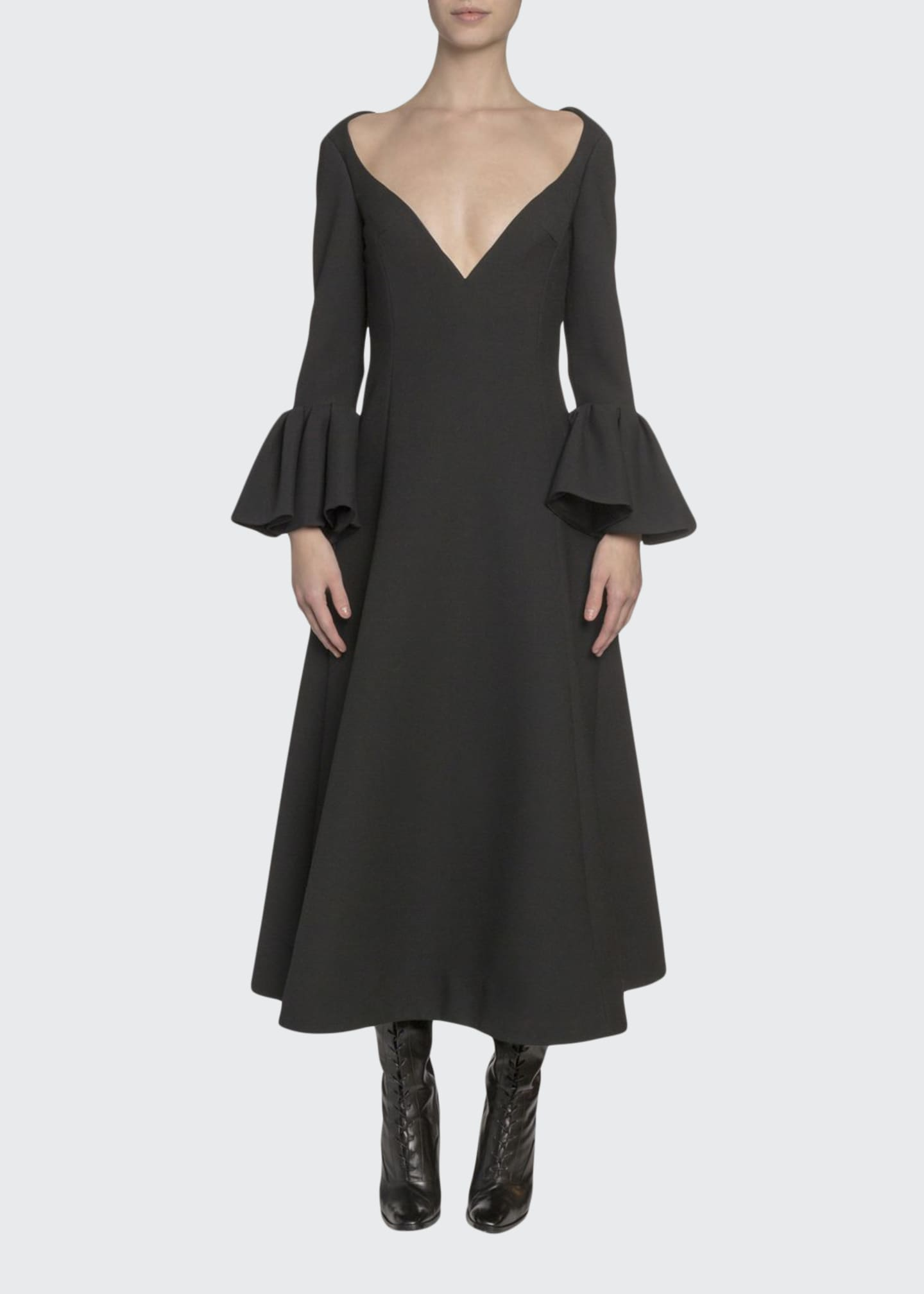 Marc Jacobs Wool Wide-Neck Bell-Cuff Dress