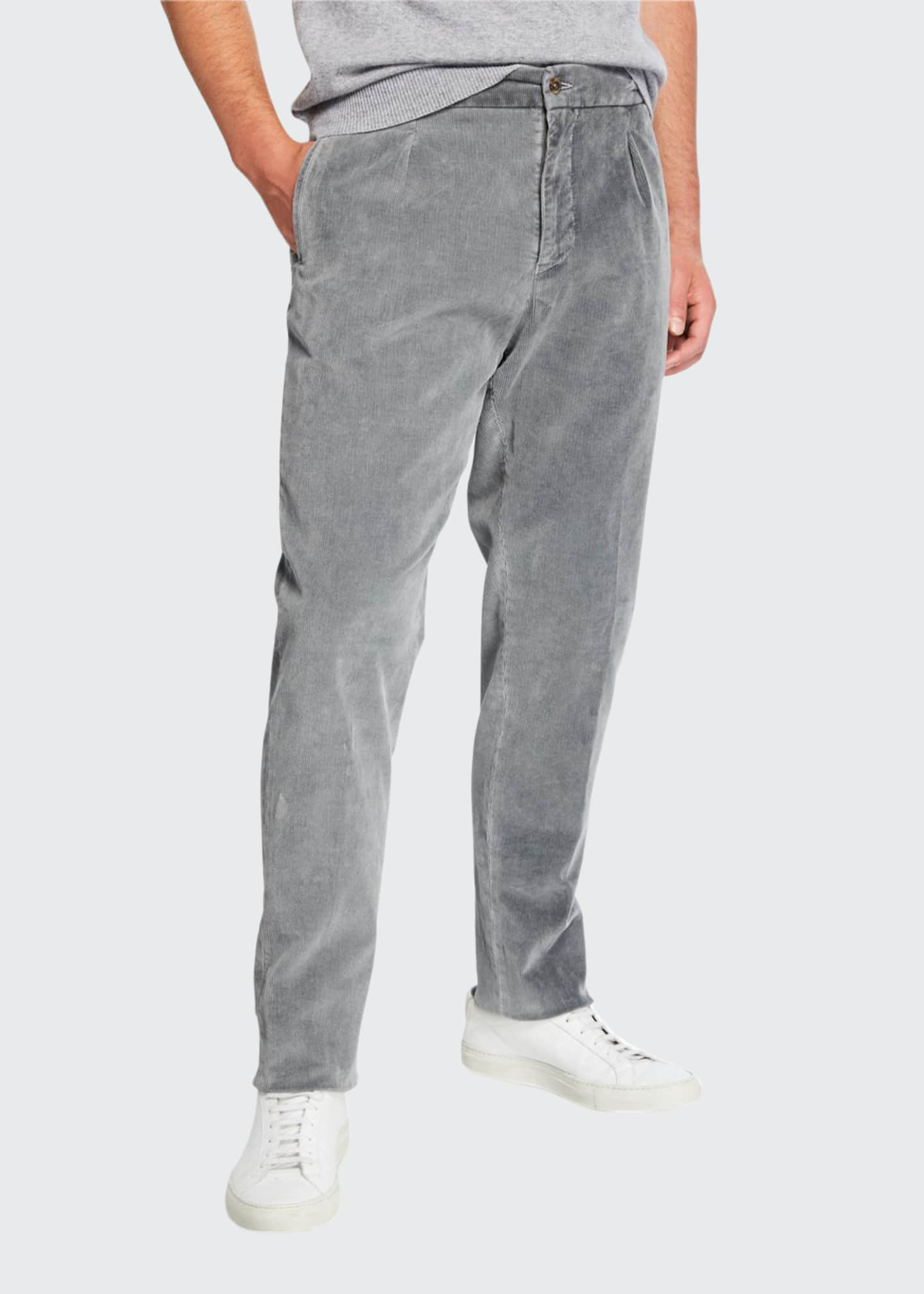 Image 1 of 3: Men's Pleated Corduroy Trousers with Elastic Waist, Gray
