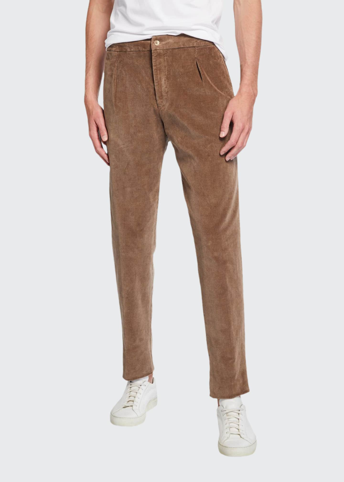 Marco Pescarolo Men's Pleated Corduroy Trousers with Elastic