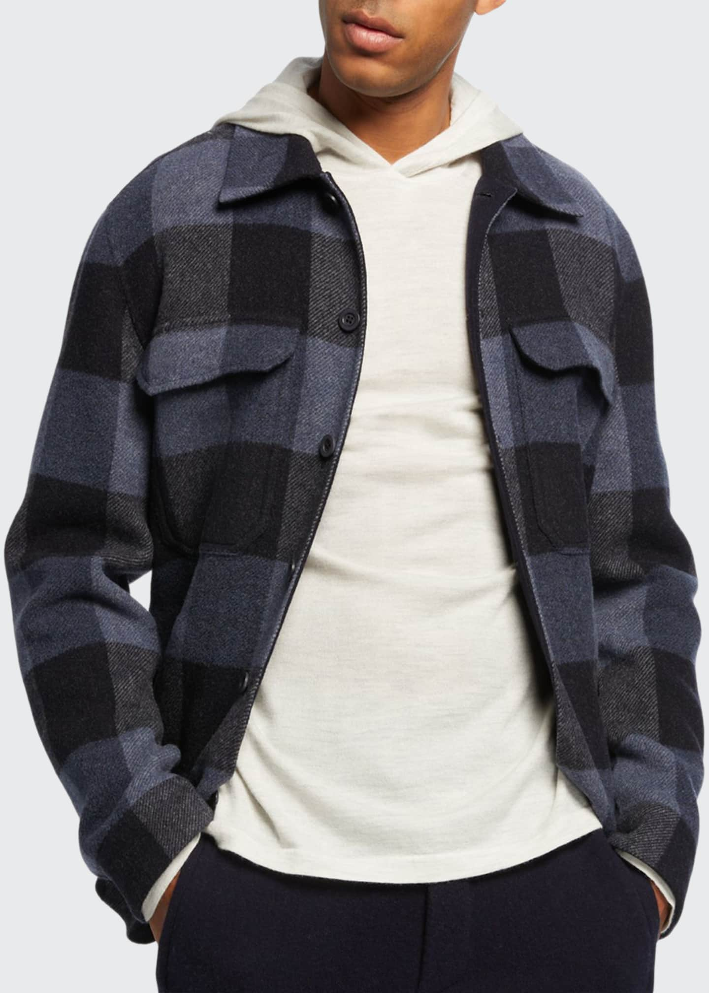 Vince Men's Buffalo Plaid Wool Overshirt