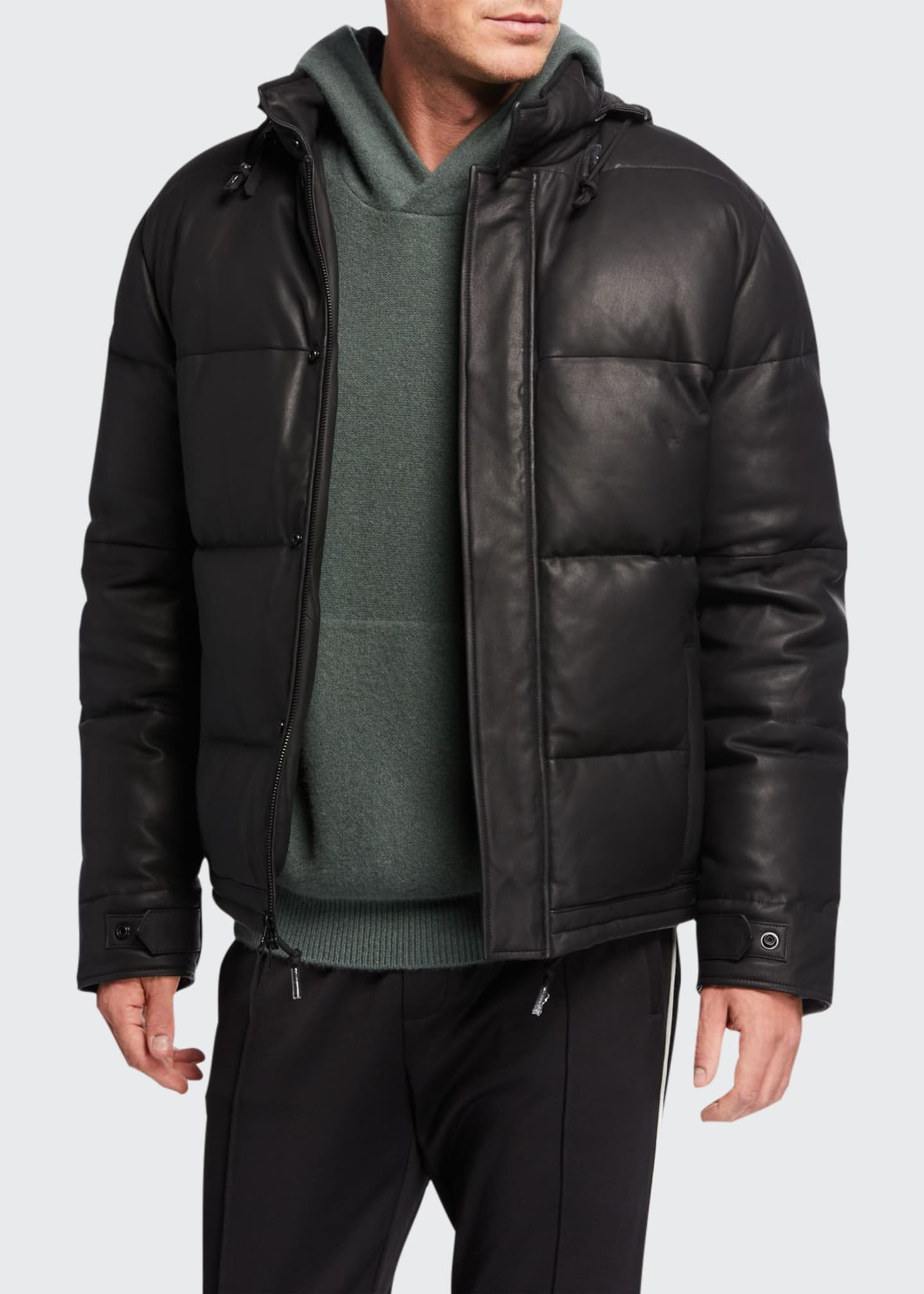 Men's Down Filled Leather Puffer Jacket
