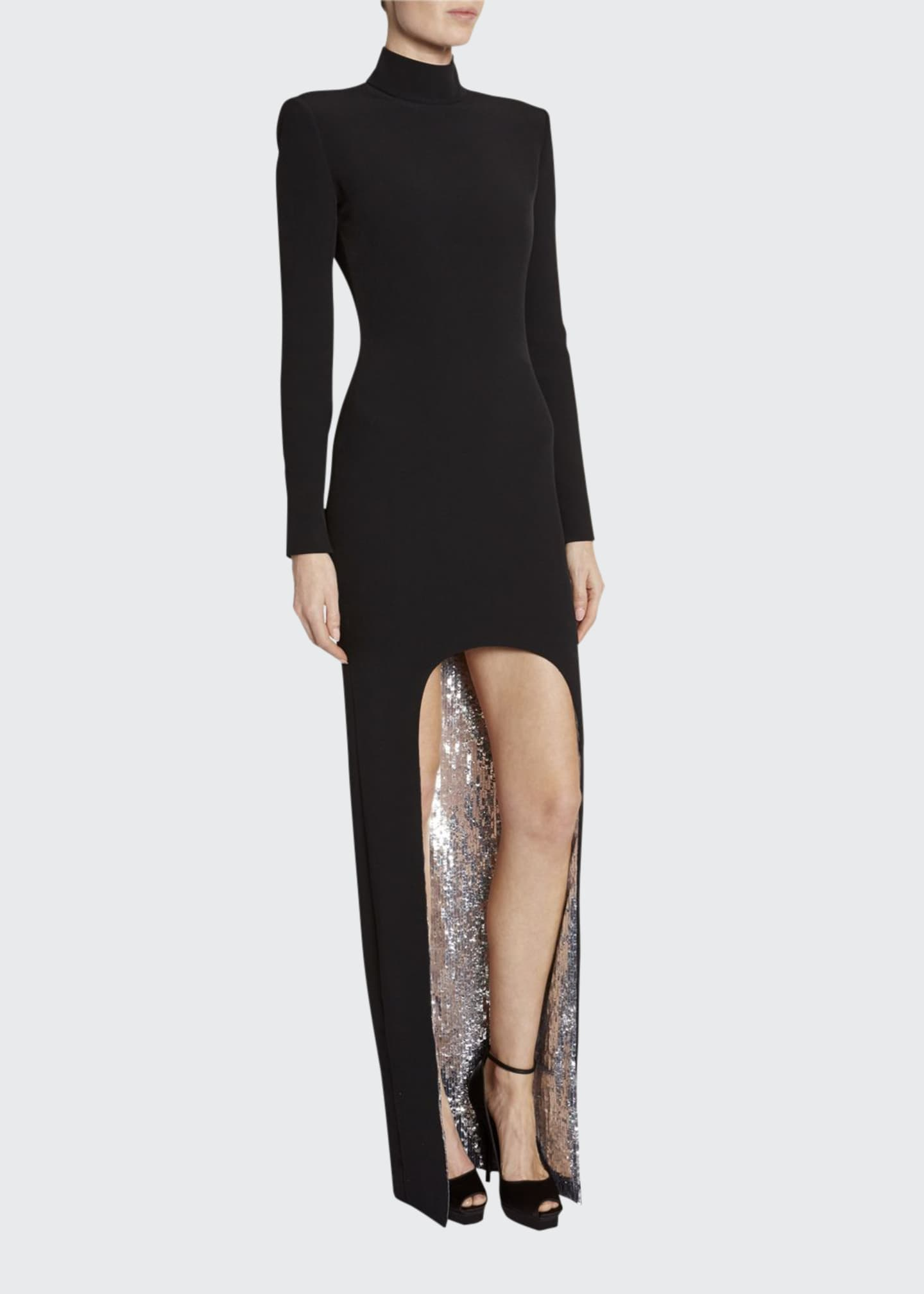 Image 1 of 2: Sequin-Face High-Low Cady Long-Sleeve Gown