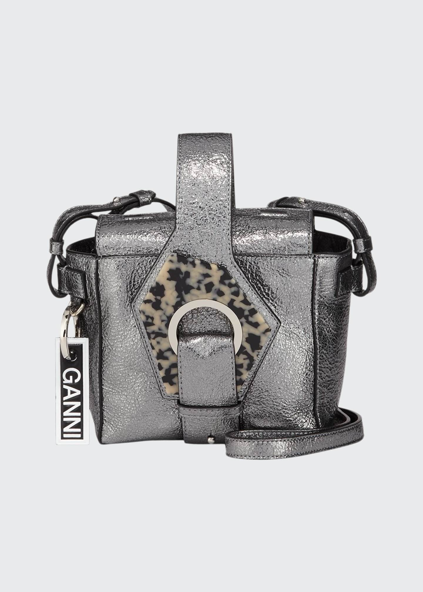 Ganni Metallic Square Bucket Bag